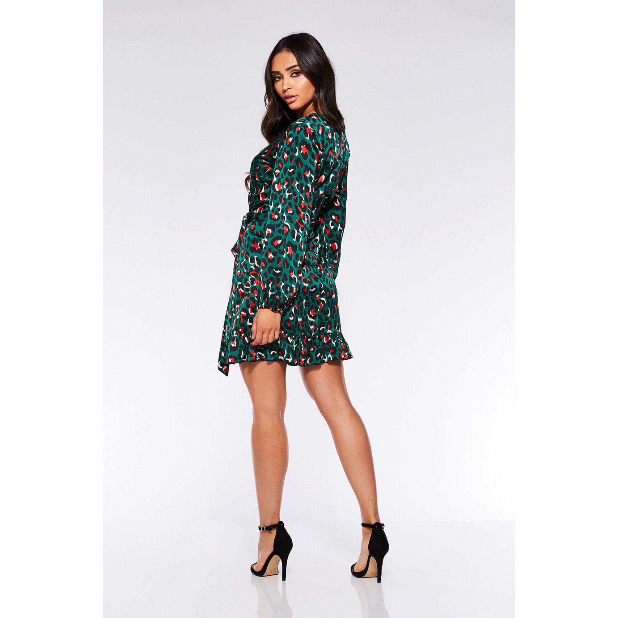 e8a091f663af Quiz Towie Green And Orange Satin Leopard Print Wrap Dress in Green ...