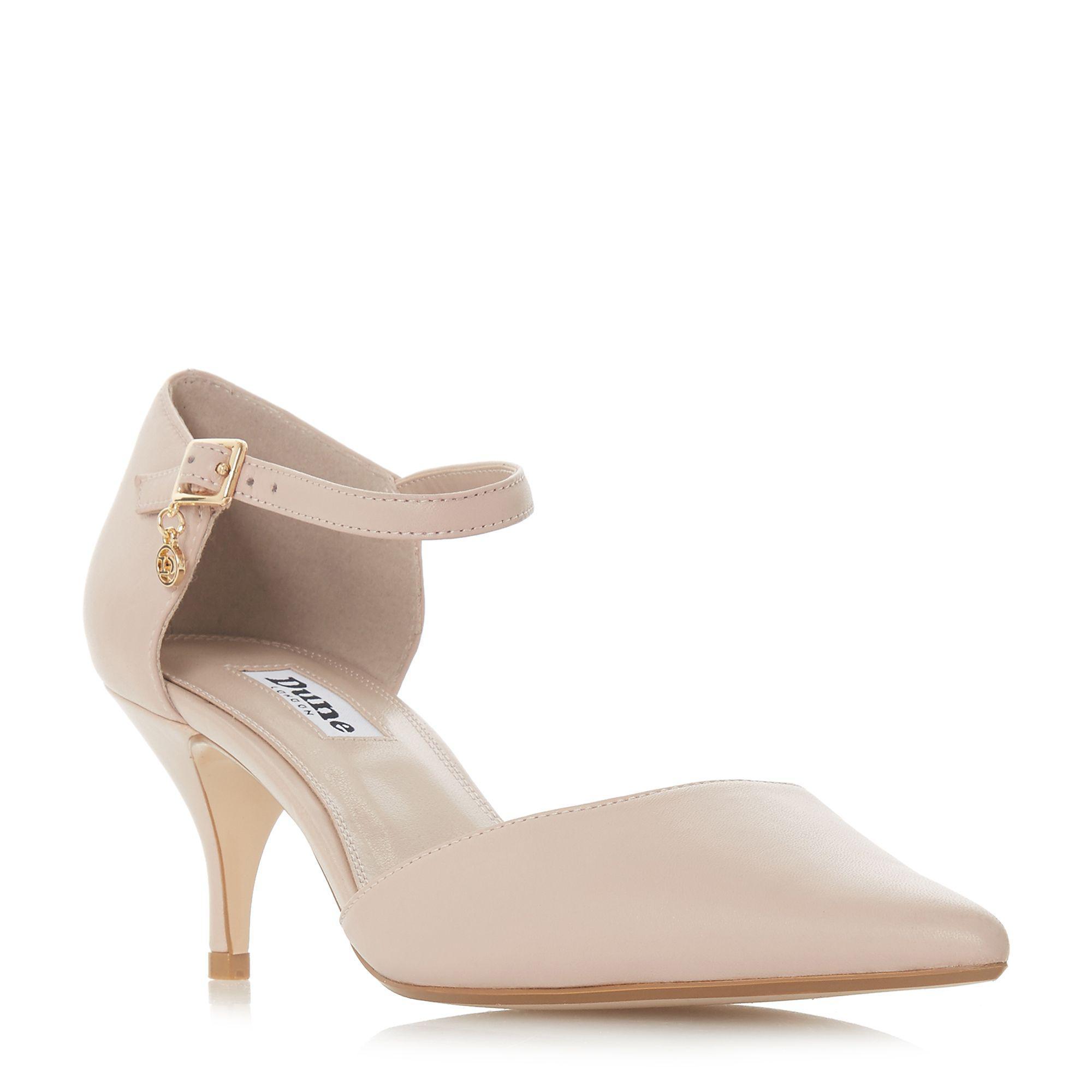 6dc96b949 Dune Light Pink Leather 'celeste T' Mid Kitten Heel Court Shoes in ...