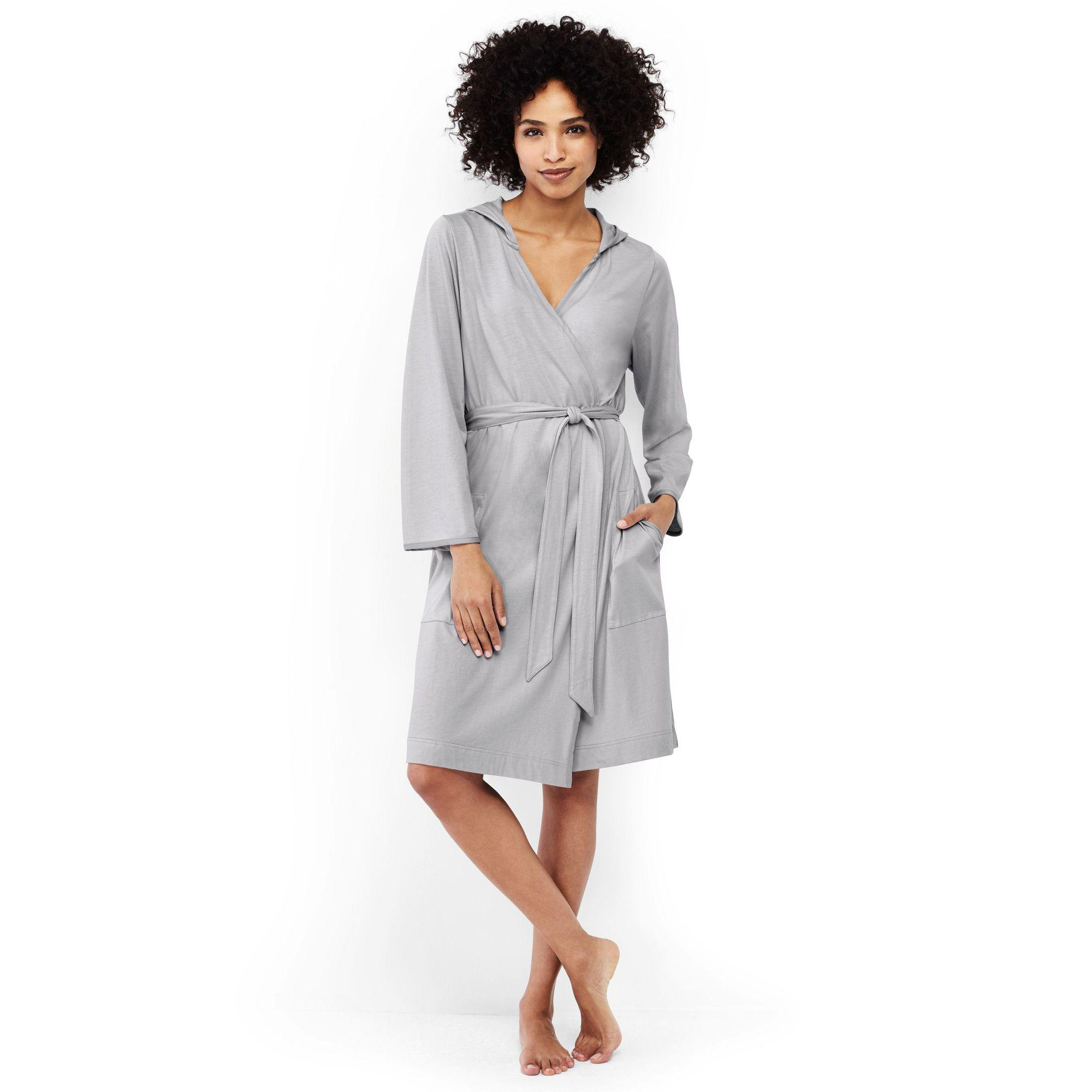 Lands\' End Grey Hooded Knee Length Dressing Gown in Gray - Lyst