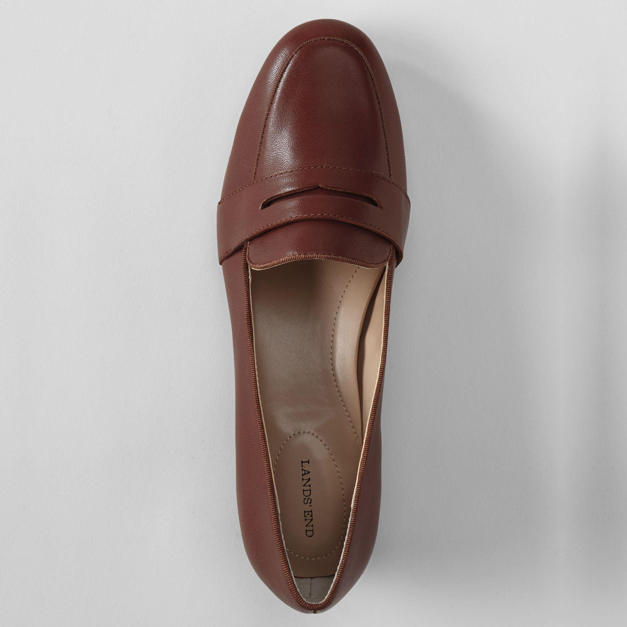 91864fd978c Lands  End - Brown Women s Leather Penny Loafers - Lyst. View fullscreen
