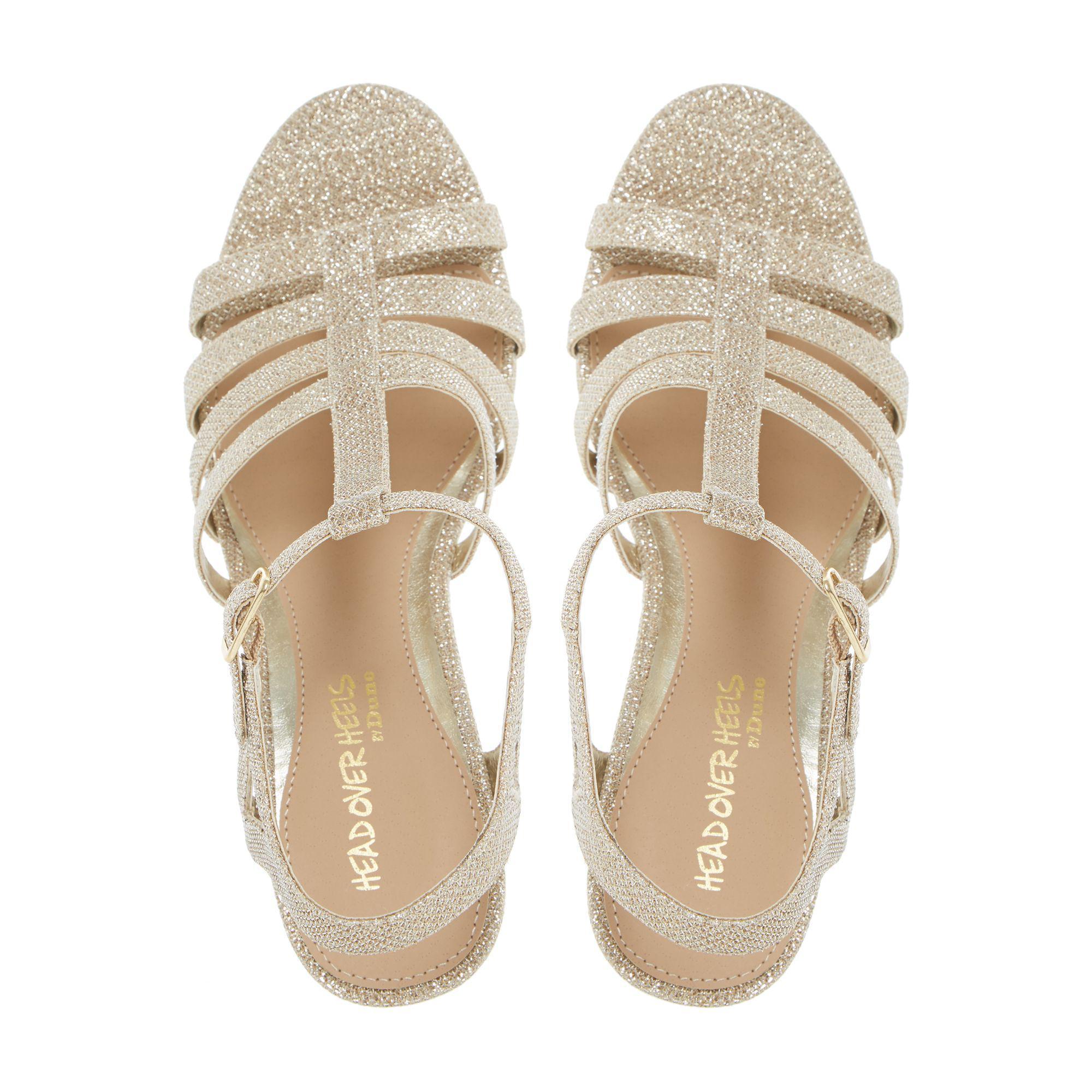 45327eeb271d Dune Gold  keeli  T-bar Cork Wedge Sandals in Metallic - Lyst