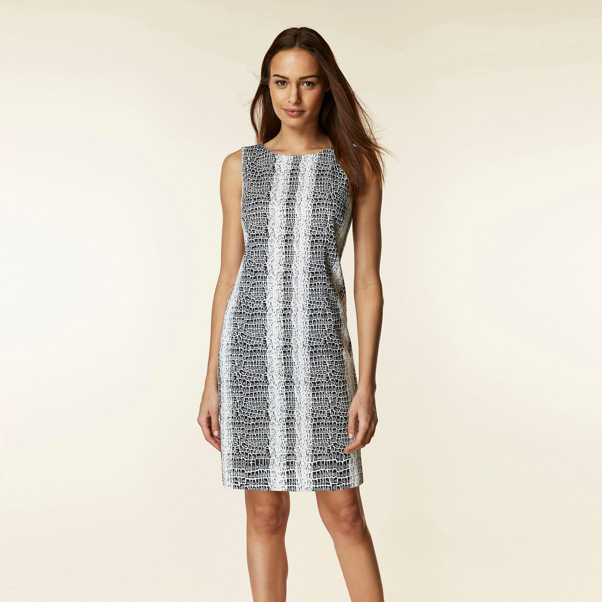 8405318c Wallis Monochrome Snake Print Jacquard Shift Dress in Black - Lyst