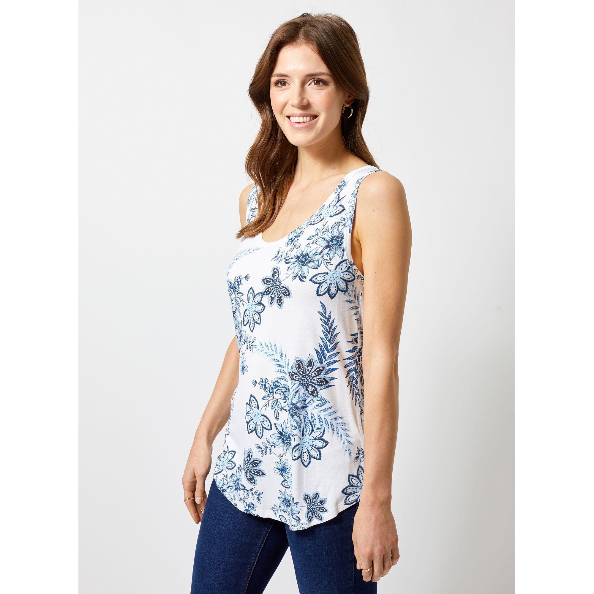 b260467c67d94 Dorothy Perkins Ivory Floral Print Viscose Vest in White - Save 17 ...
