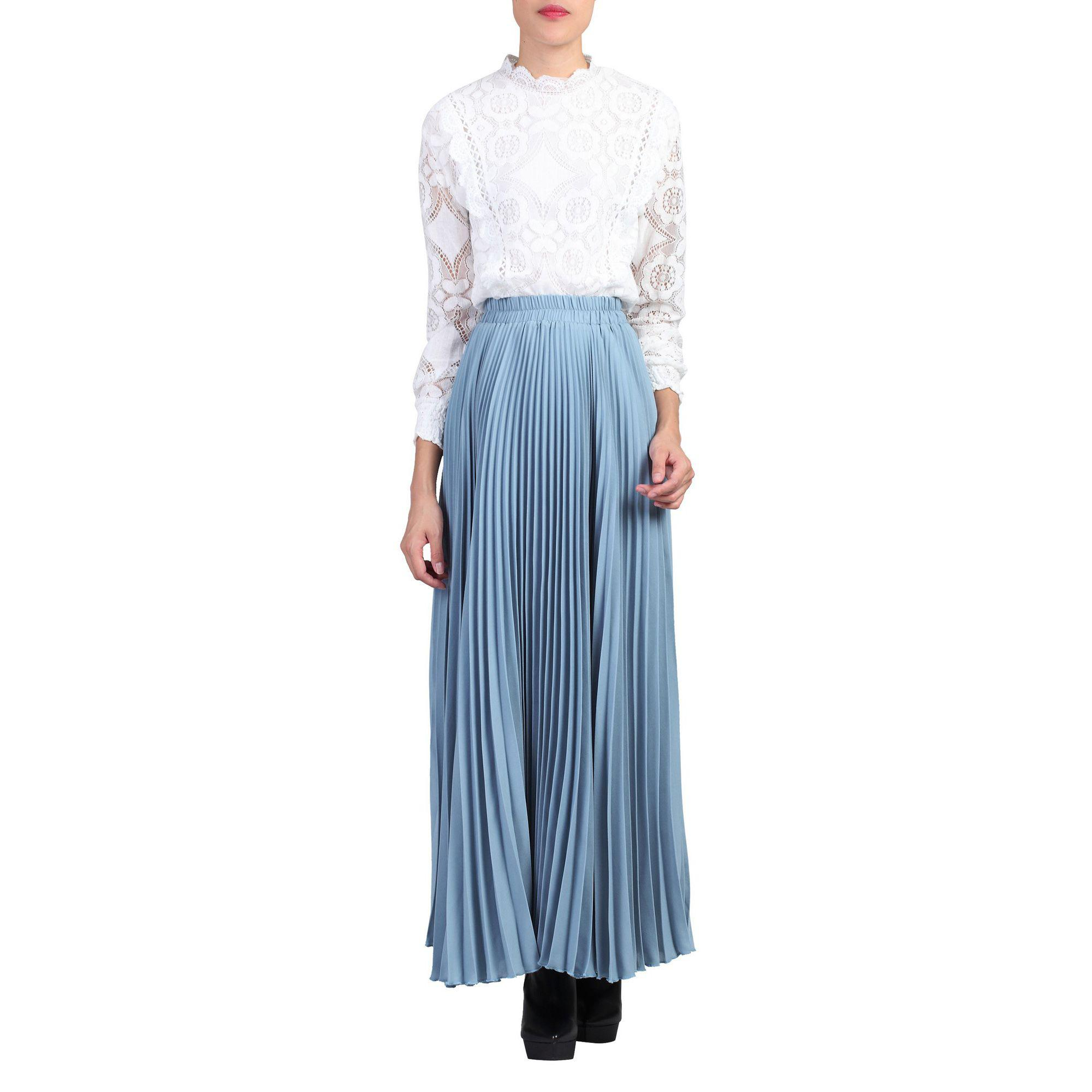 d2b9943503 Jolie Moi Blue Pleated Crepe Maxi Skirt in Blue - Lyst