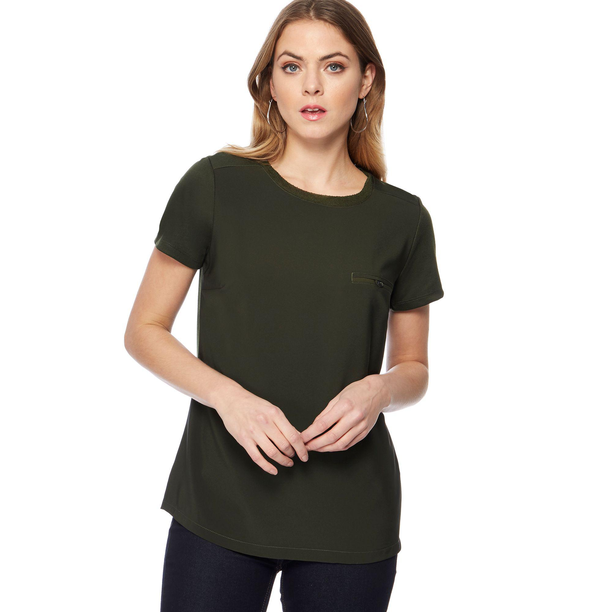 181b92e4069394 J By Jasper Conran Dark Green Jersey Chest Pocket T-shirt in Green ...