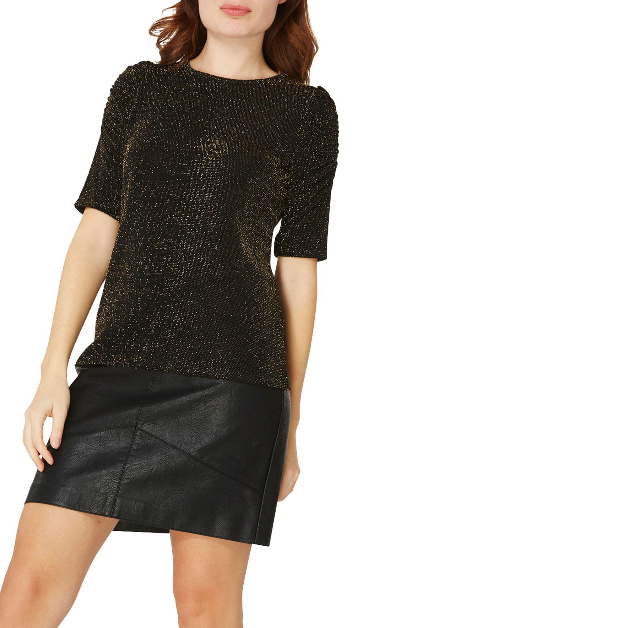 Dorothy Perkins Womens Black Sparkle Ruched Sleeve Top- Cheap Real Cheap Prices Reliable cl2Cyf