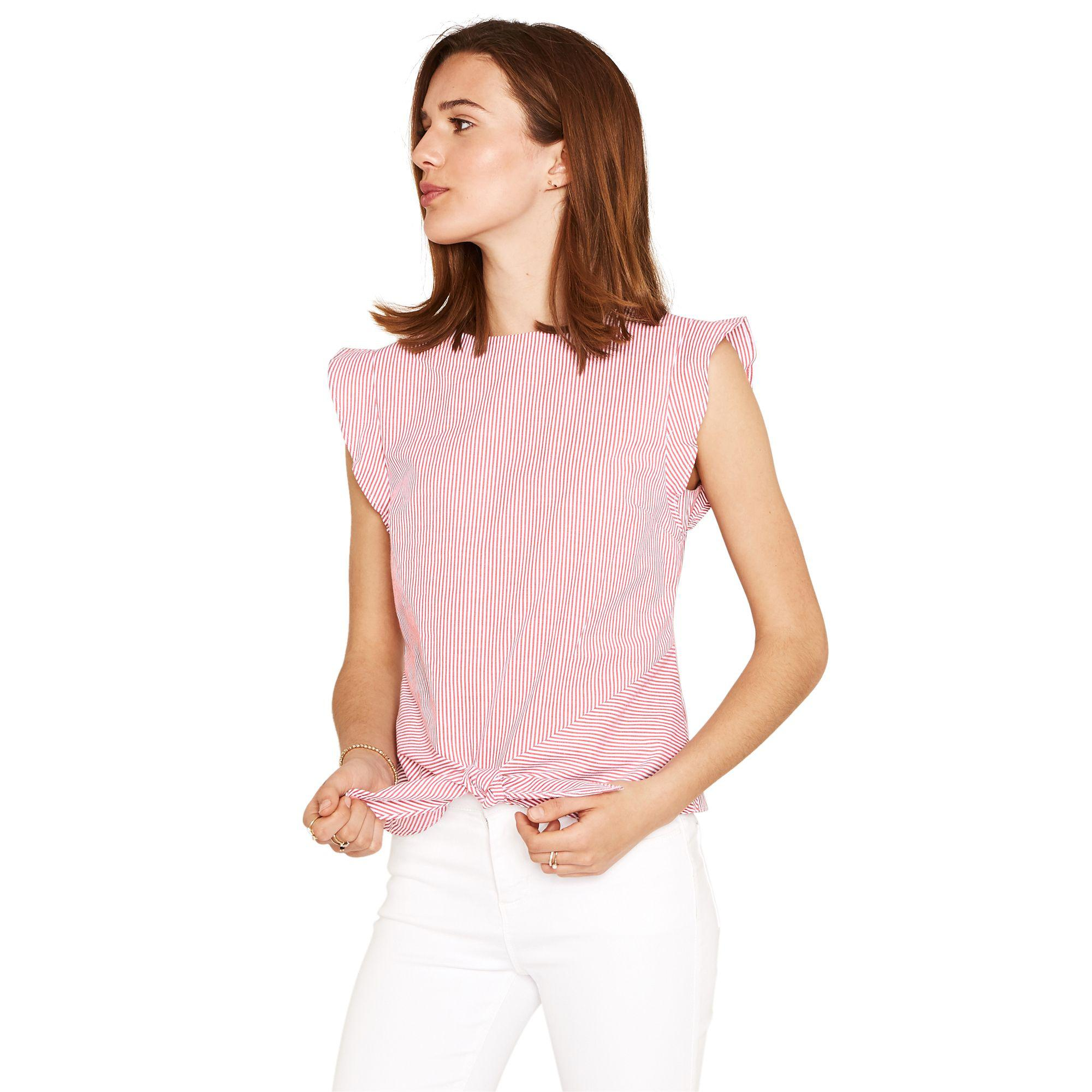 ab879a8f1b30 Oasis Ticking Stripe Tie Front Tee Shirt in Pink - Lyst