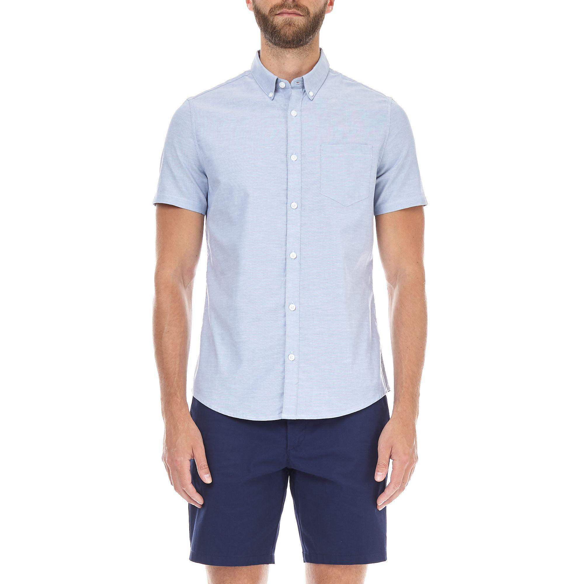 Burton light blue short sleeve skinny fit oxford shirt in Shirts for thin guys