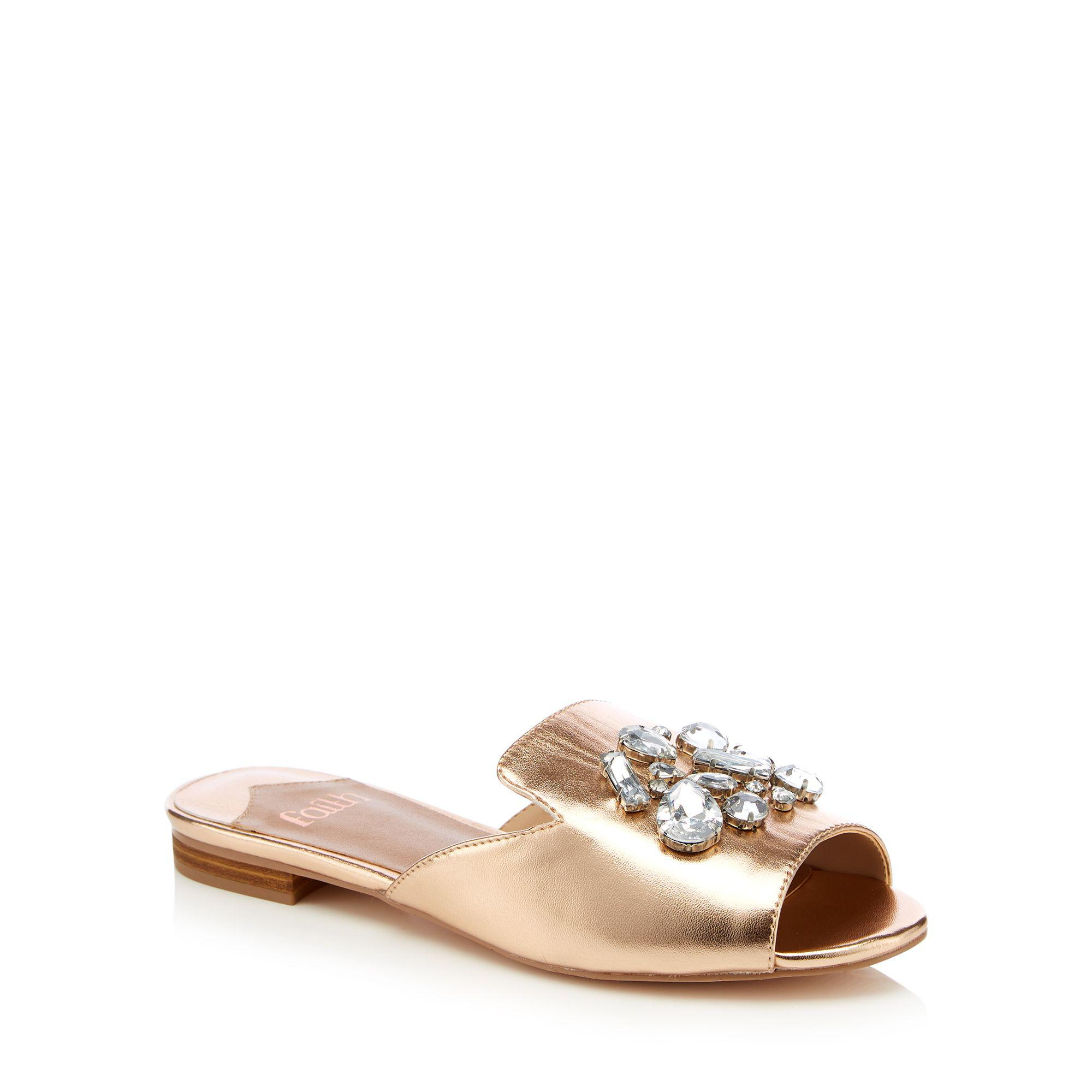 d186a5d48 Faith - Pink Rose Gold Embellished  jem  Open Toe Mule - Lyst. View  fullscreen