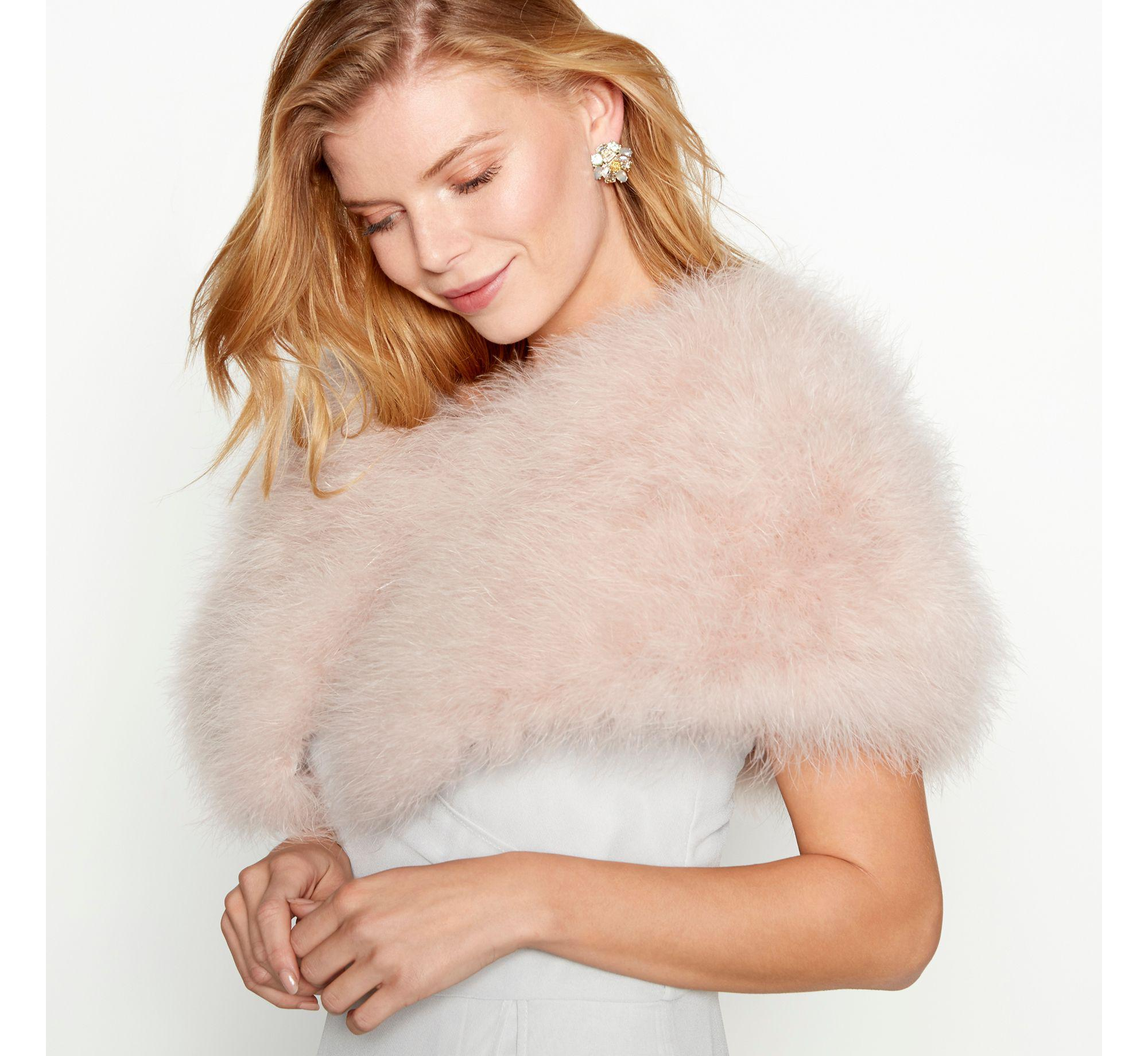 17758c83303d Jenny Packham Pink Feather Shrug in Pink - Lyst