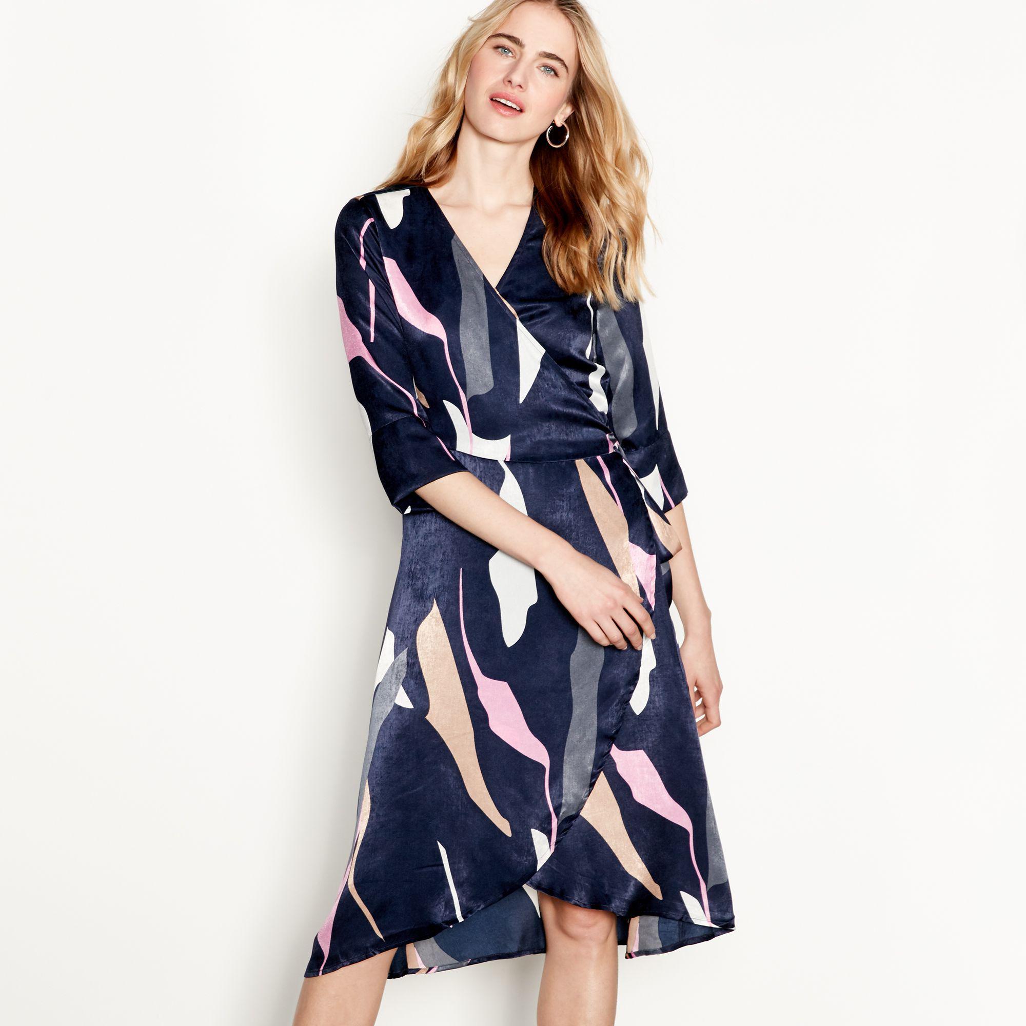 497ff33367 Vero Moda Navy Abstract Stripe Print Satin V-neck Midi Wrap Dress in ...