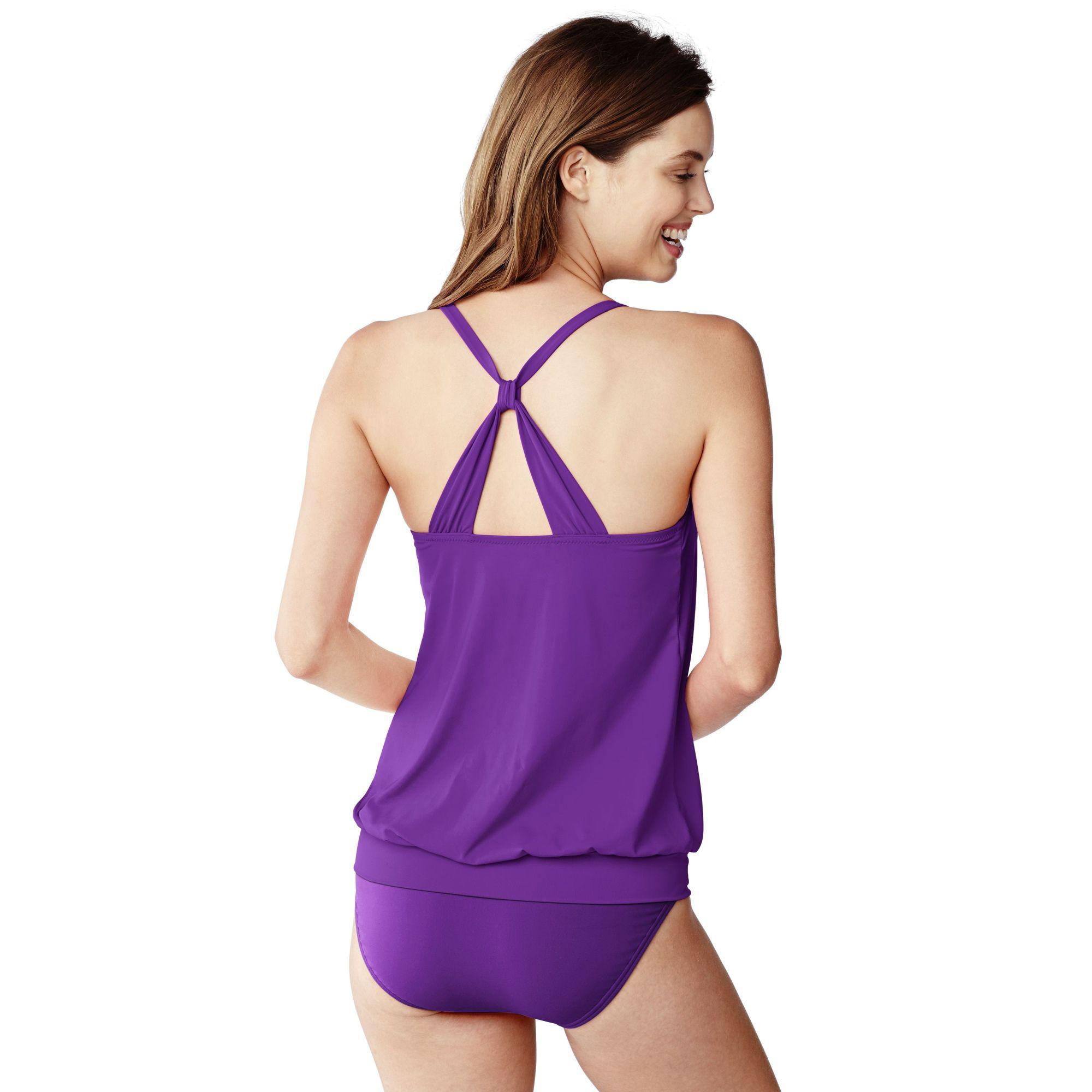 9e0e93b904187 Lands' End Purple Dd-cup Beach Living Blouson Tankini Top in Purple ...