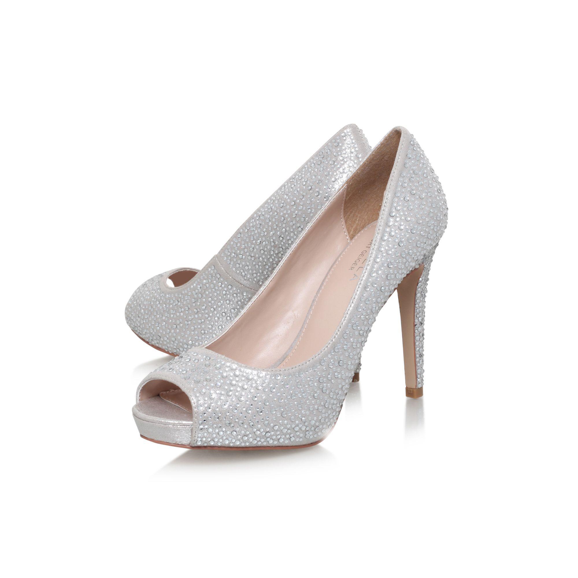 5ed2195d4f Carvela Kurt Geiger - Metallic Silver 'lara' Jewel High Heel Court Shoe -  Lyst. View fullscreen