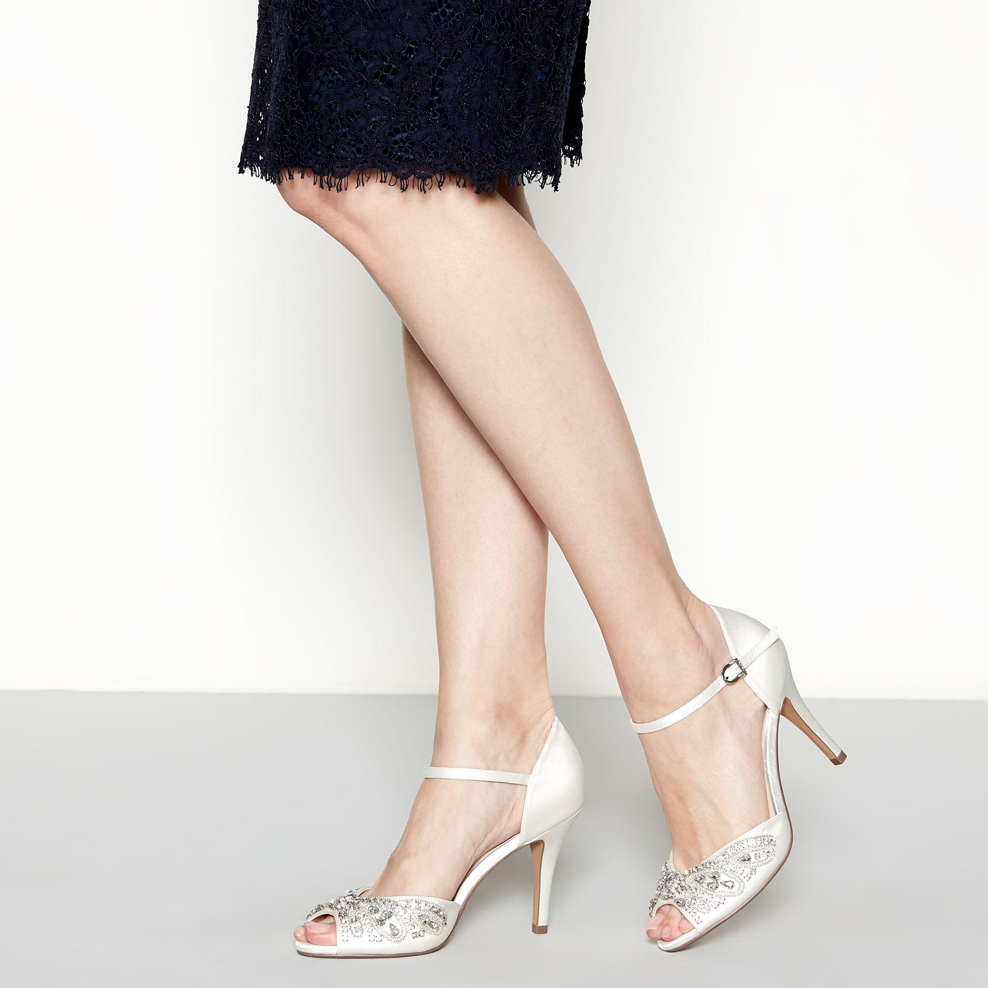 6808ef18bee Jenny Packham. Women s White Ivory Satin  paris  High Stiletto Heel Ankle  Strap Sandals