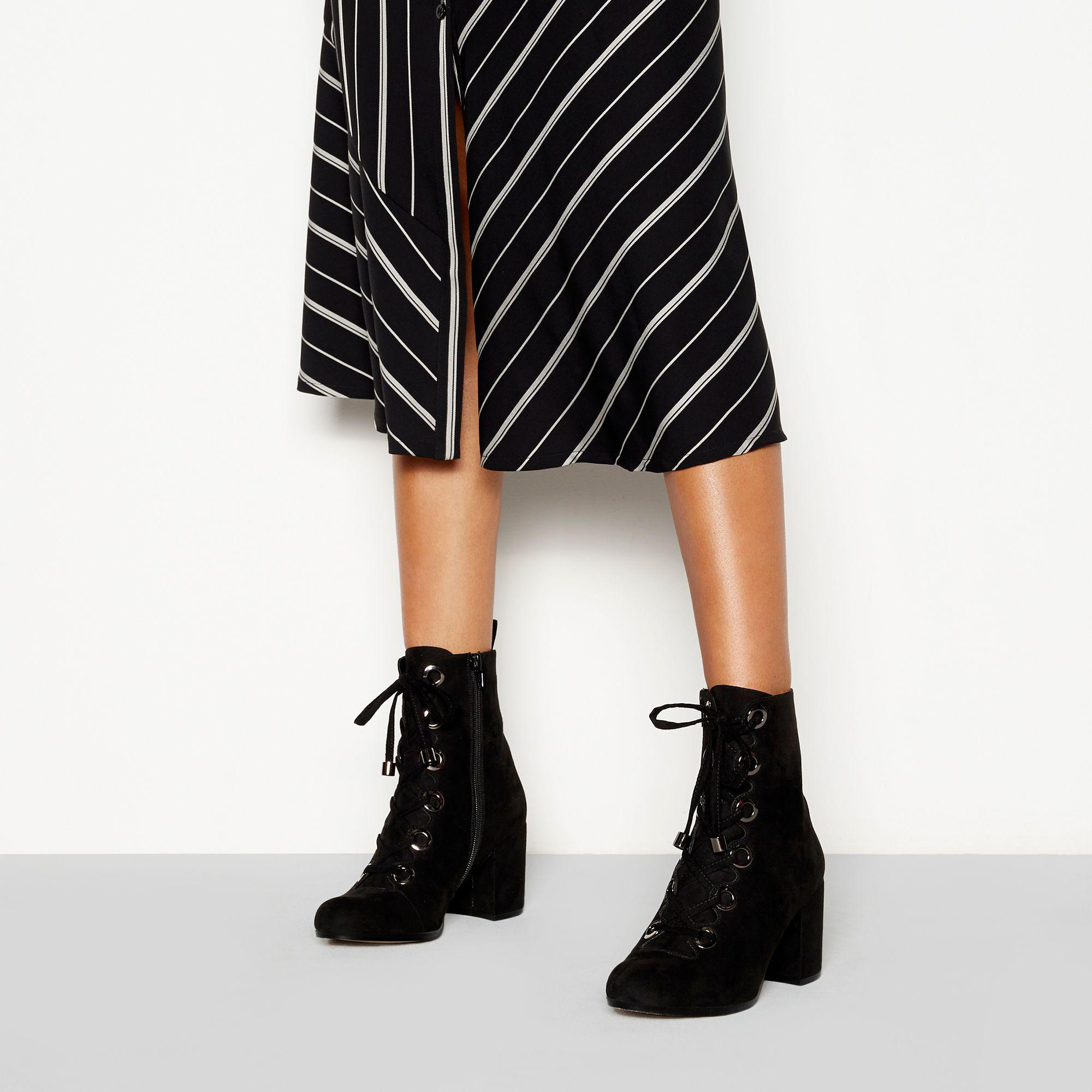 3196fd1ba0b5 Faith Black Suedette  butcher  Block Heel Lace Ankle Boot in Black ...