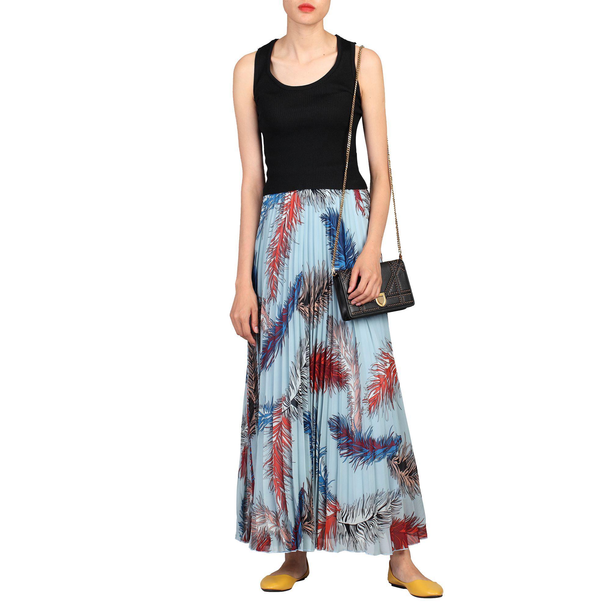 ade0d97b7c Jolie Moi Blue Print Pleated Maxi Skirt in Blue - Save 26% - Lyst