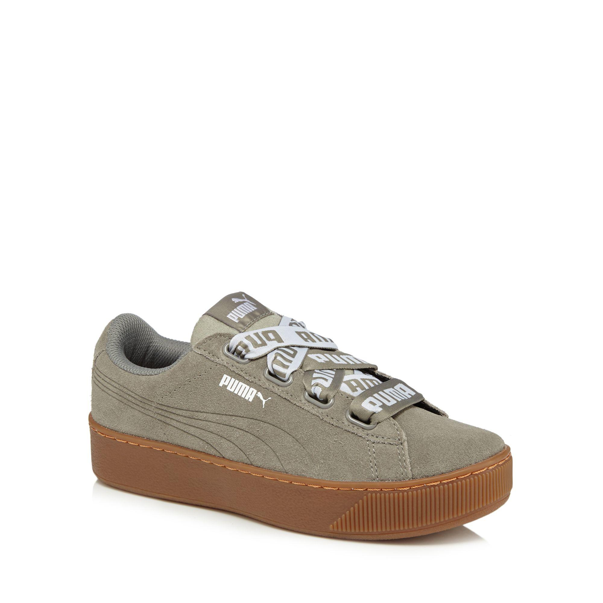 free shipping real Khaki leather 'Vikky' mid flatform heel trainers clearance view clearance looking for with paypal free shipping kFQjgxFKL