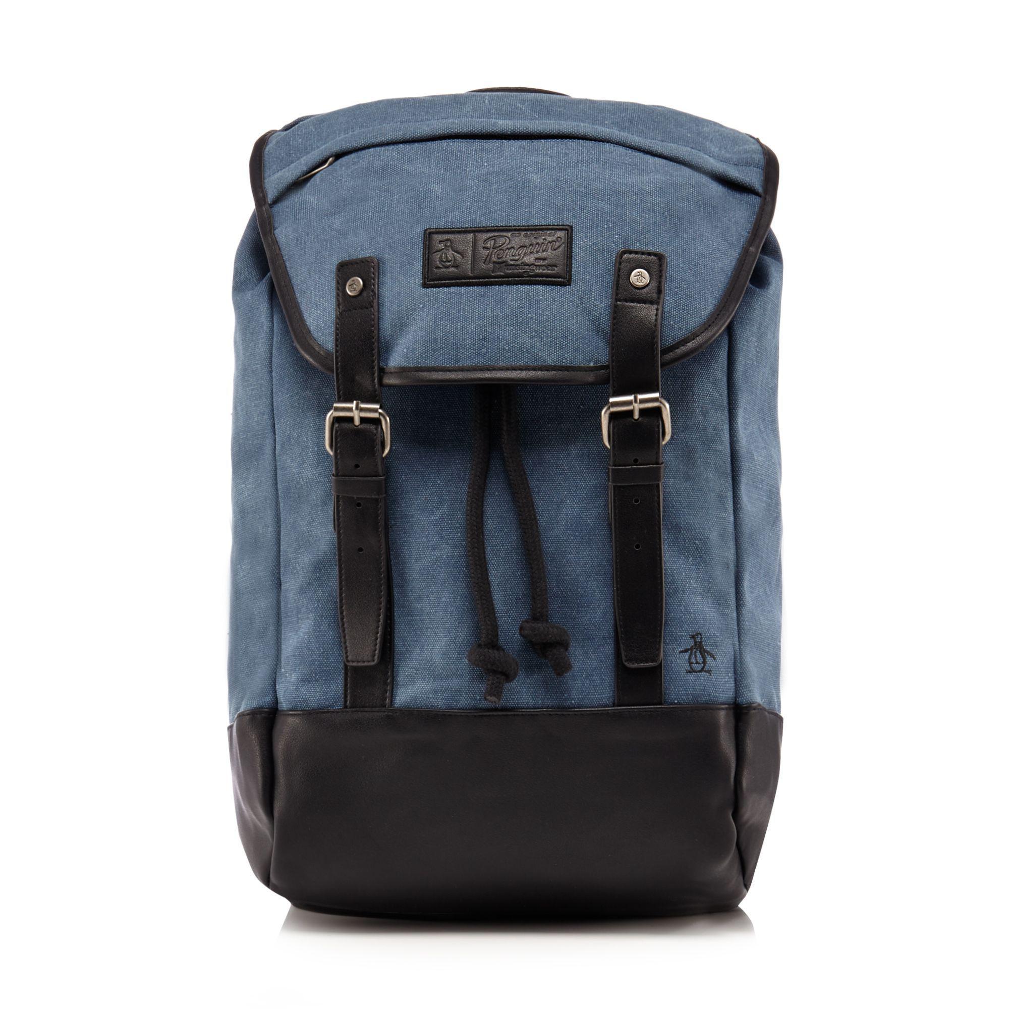 Original Penguin Blue Canvas  springs  Backpack in Blue for Men - Lyst 1ef6fc9f18198