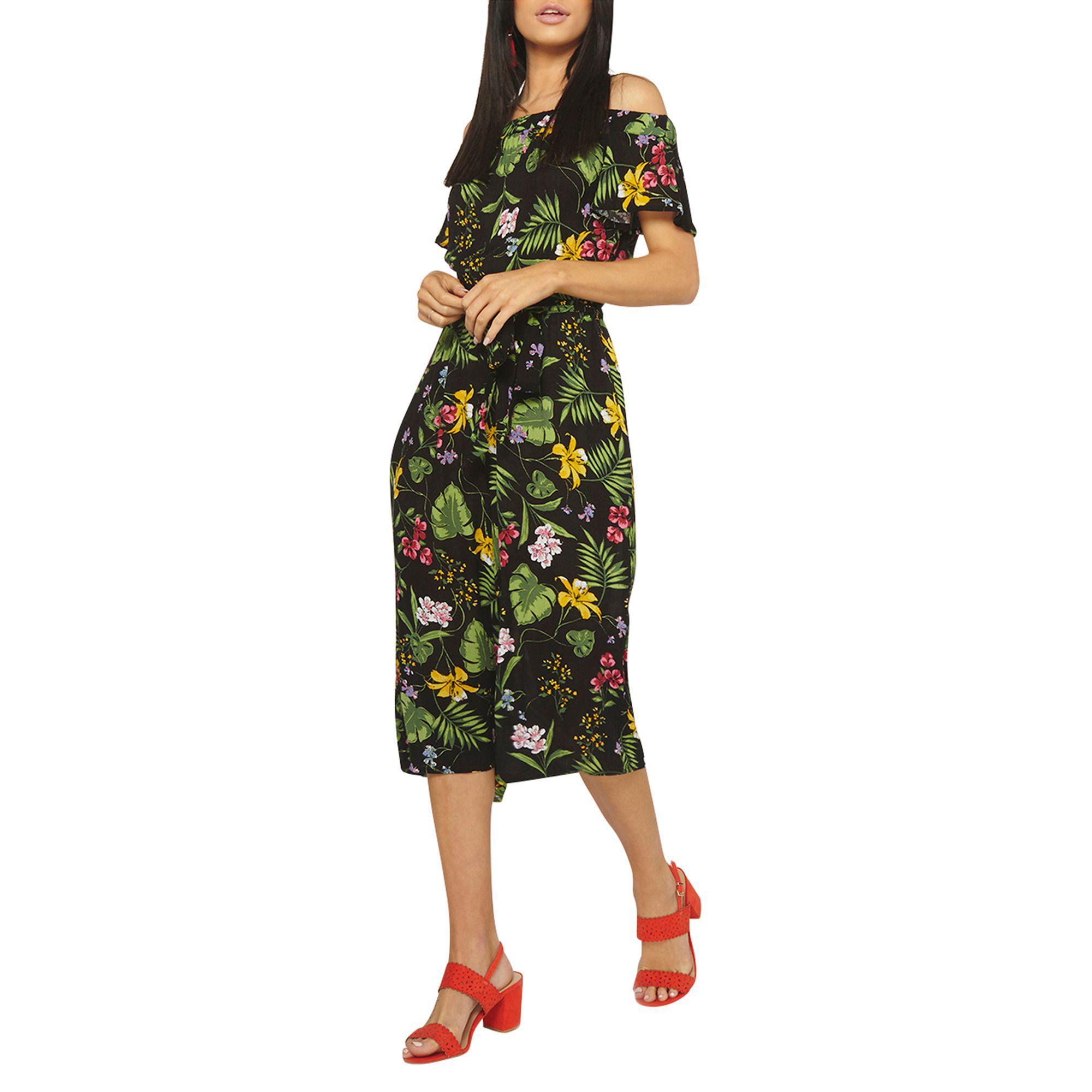 b40cd57c7a5d Dorothy Perkins Black Tropical Bardot Jumpsuit in Black - Lyst