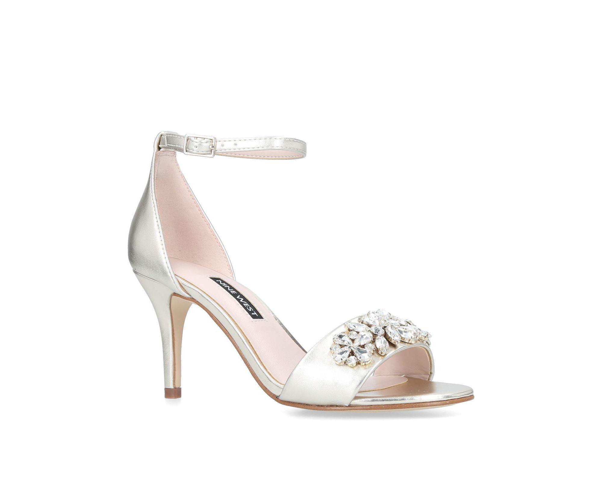 da3483f06da Nine West Gold  intimate  Embellished Strappy Heeled Sandals in ...