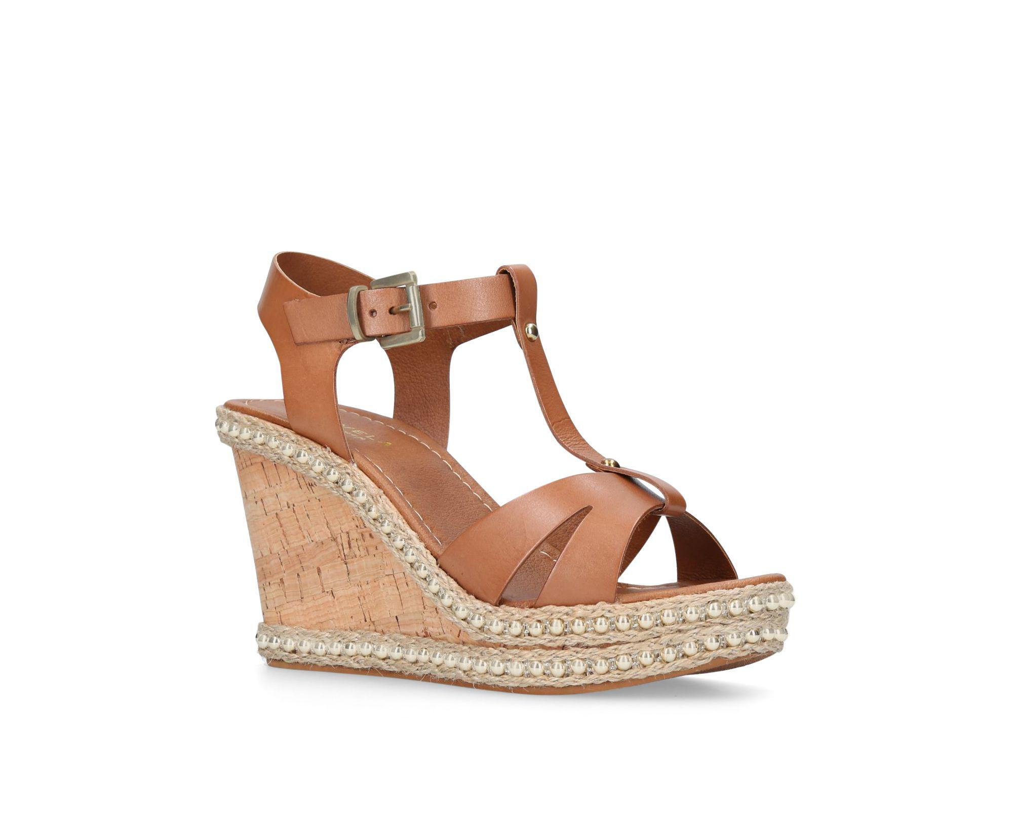 90a296fb6700 Carvela Kurt Geiger Karoline T-bar Wedge Heel Sandals in Brown ...