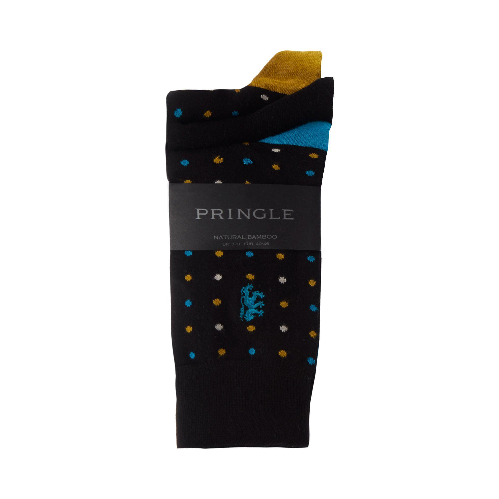 25096e3718f Pringle of Scotland 3 Pack Black Spot Print Ankle Socks in Black for ...