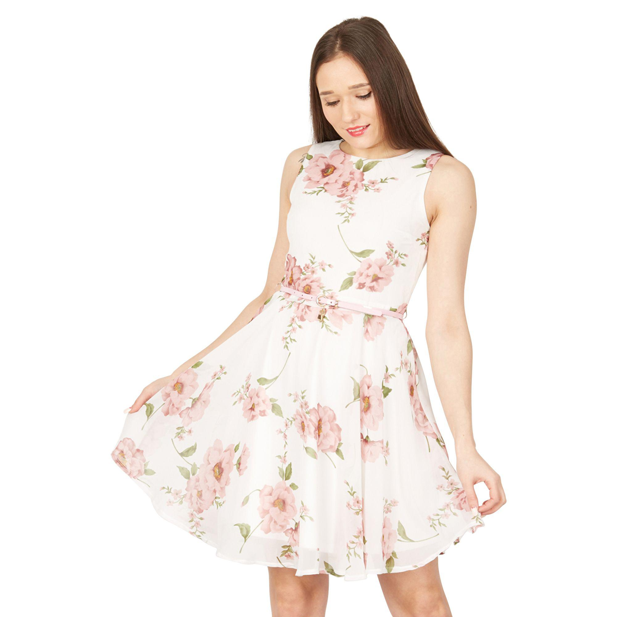 e339f33ac06 Izabel London Pink Floral Printed Waisted Dress in Pink - Lyst