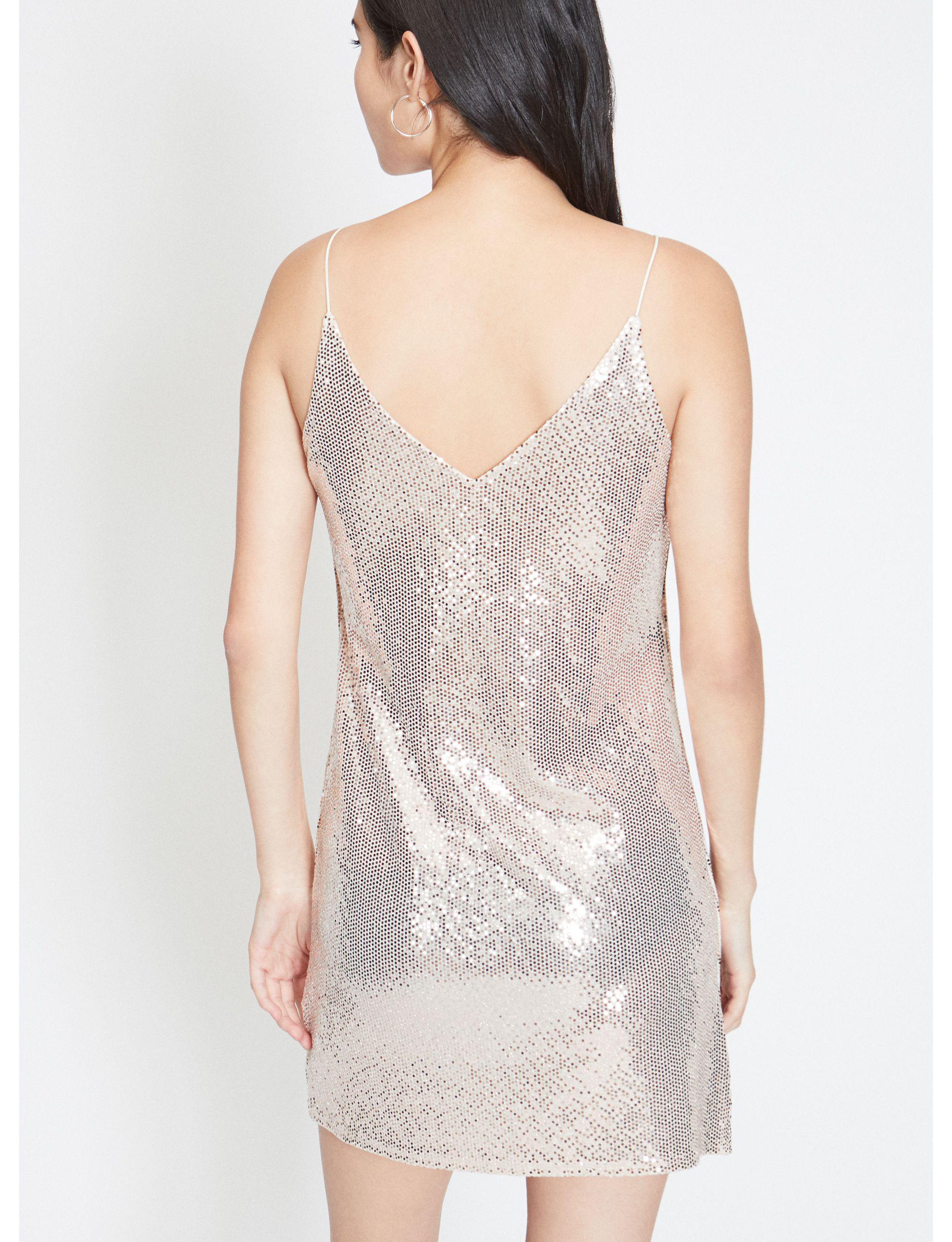 a8b27b6eab Miss Selfridge Champagne Sequin Embellished Mini Slip Dress in Metallic -  Lyst