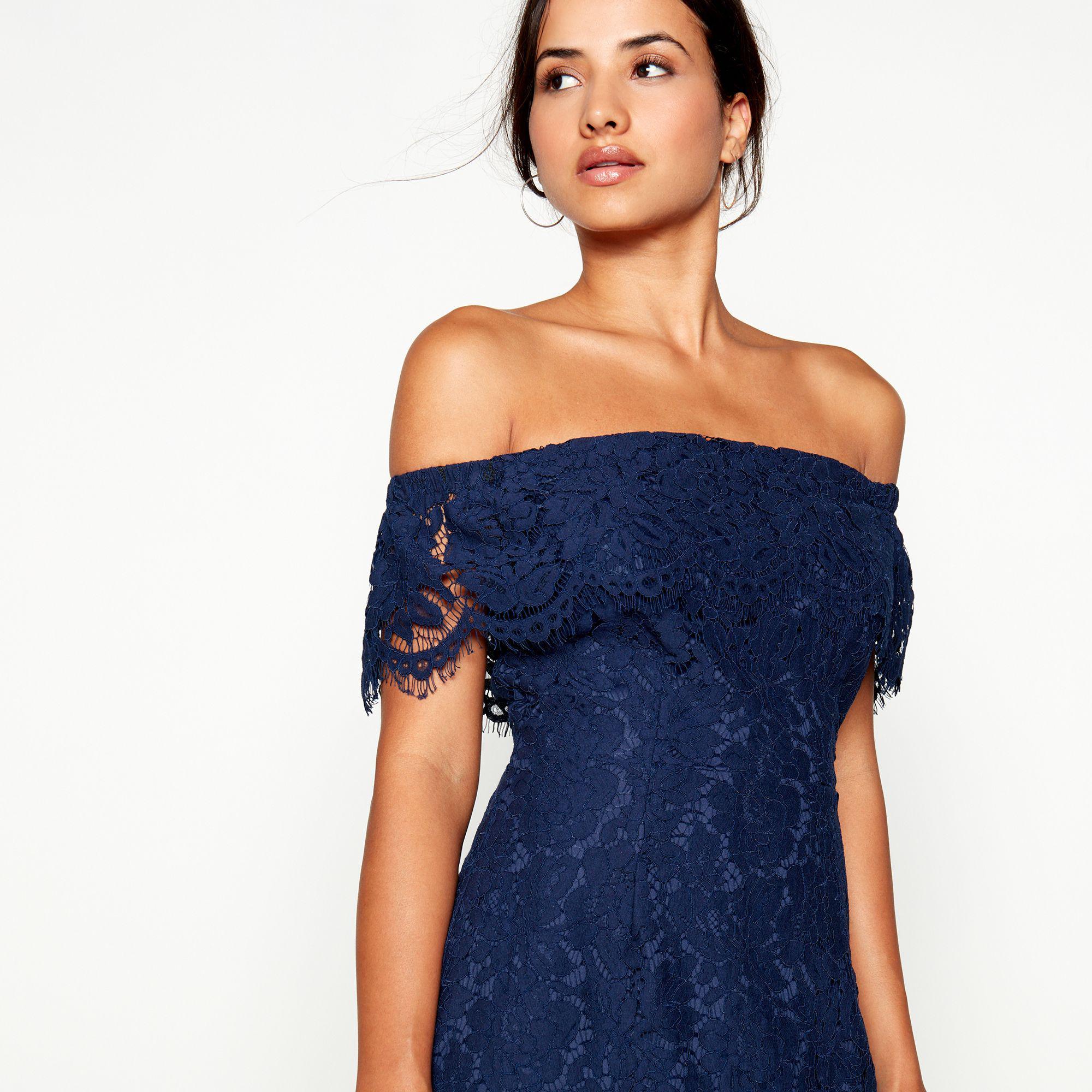 4a06fb79db3460 Début Navy Lace 'briana' Bardot Neck Midi Dress in Blue - Lyst