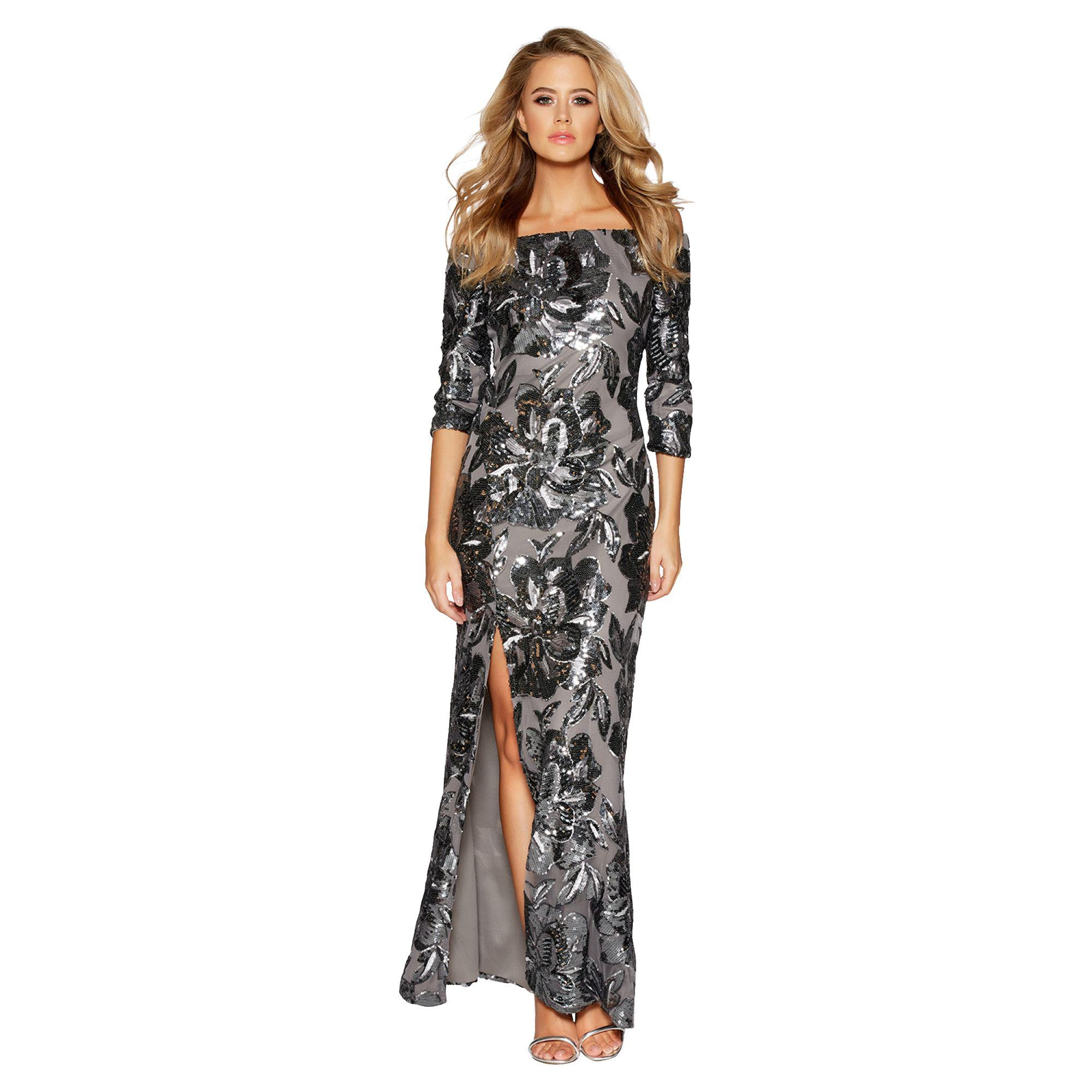 55c26151b835b Quiz Grey Flower Sequin Bardot Maxi Dress in Gray - Lyst
