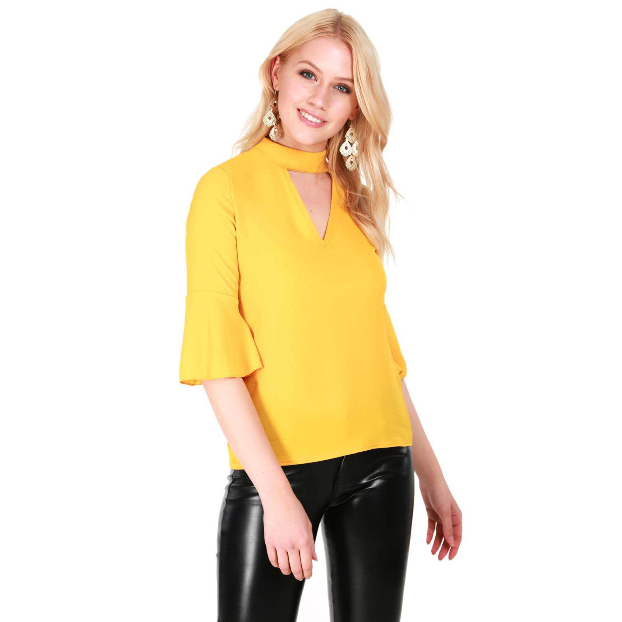 3e002dfbd9631 Be Jealous Mustard Frill Sleeves Choker Neck Top in Yellow - Lyst