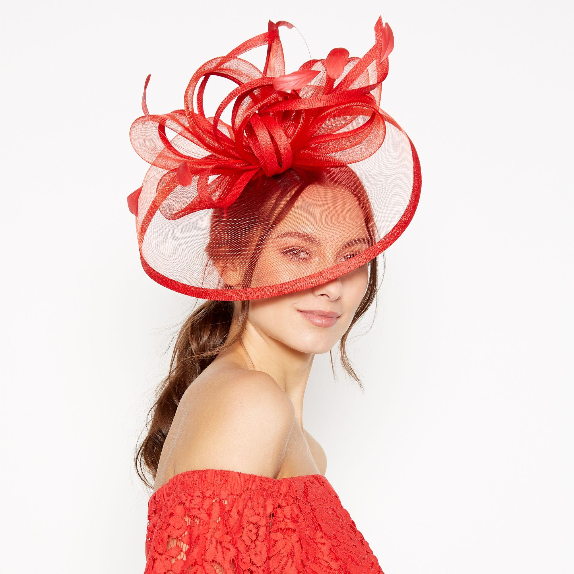 d3c85537a7ac3 Début Red Sinamay Loop Crin Saucer Fascinator in Red - Lyst