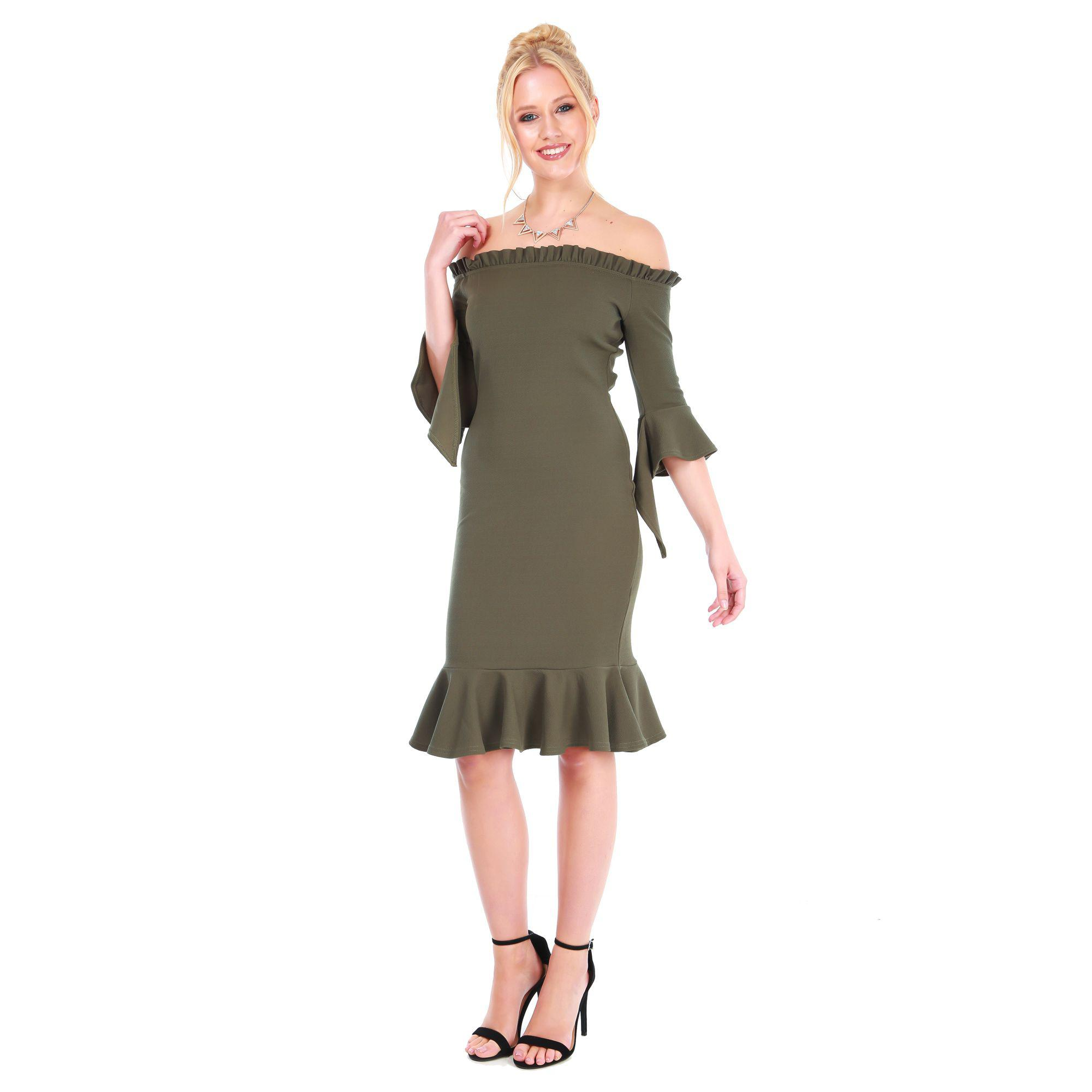 1bf09297c02e Be Jealous Khaki Off Shoulder Frill Dress in Natural - Lyst