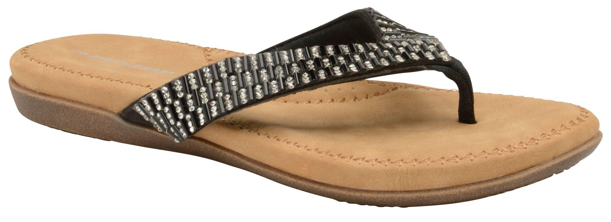 2e79b0b7c816 Dunlop Black  lucia  Ladies Toe Post Slippers in Black - Lyst