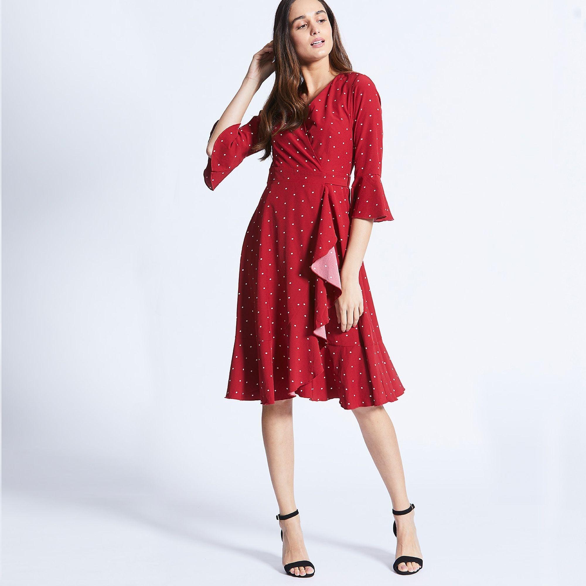 f2700da1c9072b Angeleye Red Ruffle Polka Dot Midi Dress in Red - Lyst