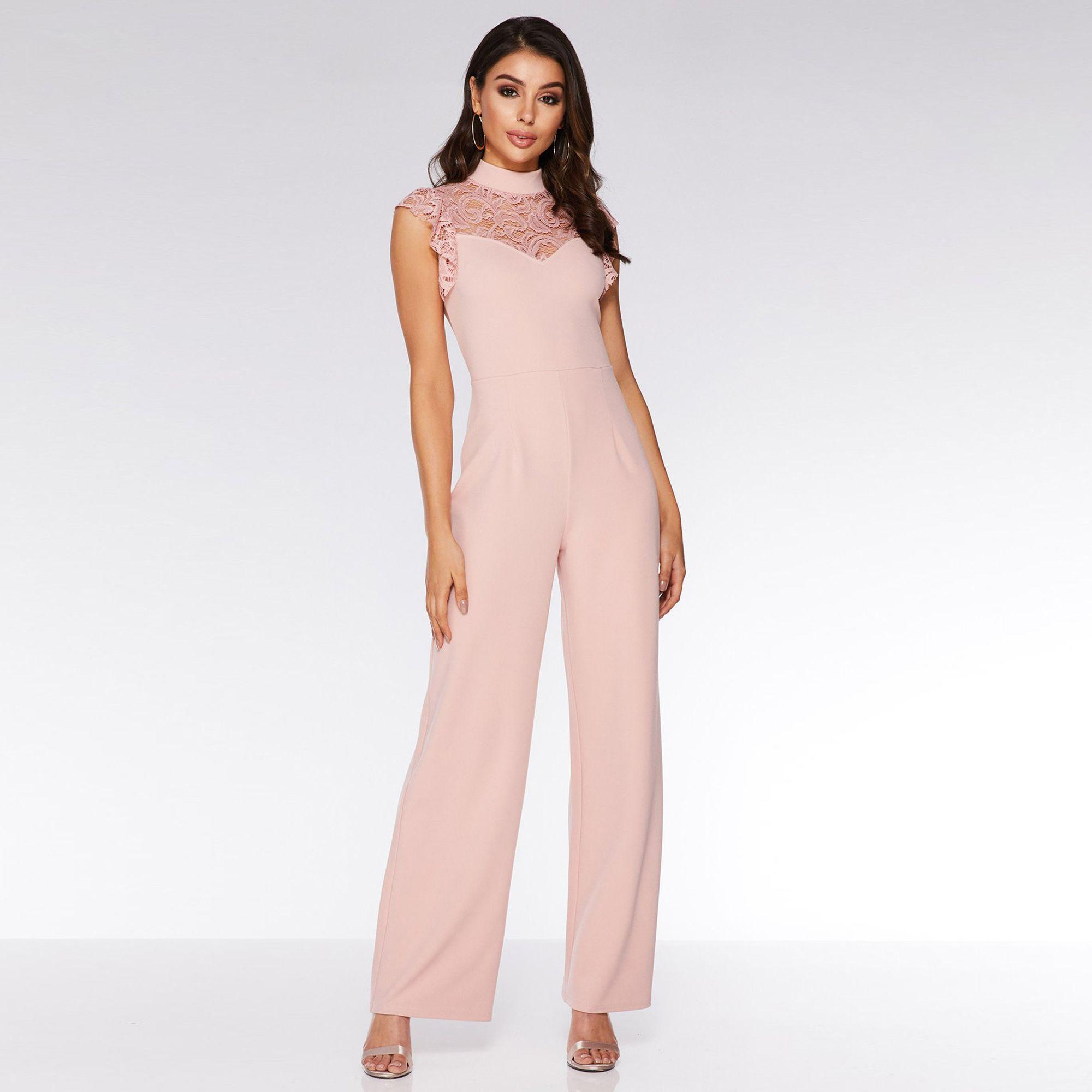 d537d197cc4 Quiz Dusky Pink Lace Frill High Neck Palazzo Jumpsuit in Pink - Lyst