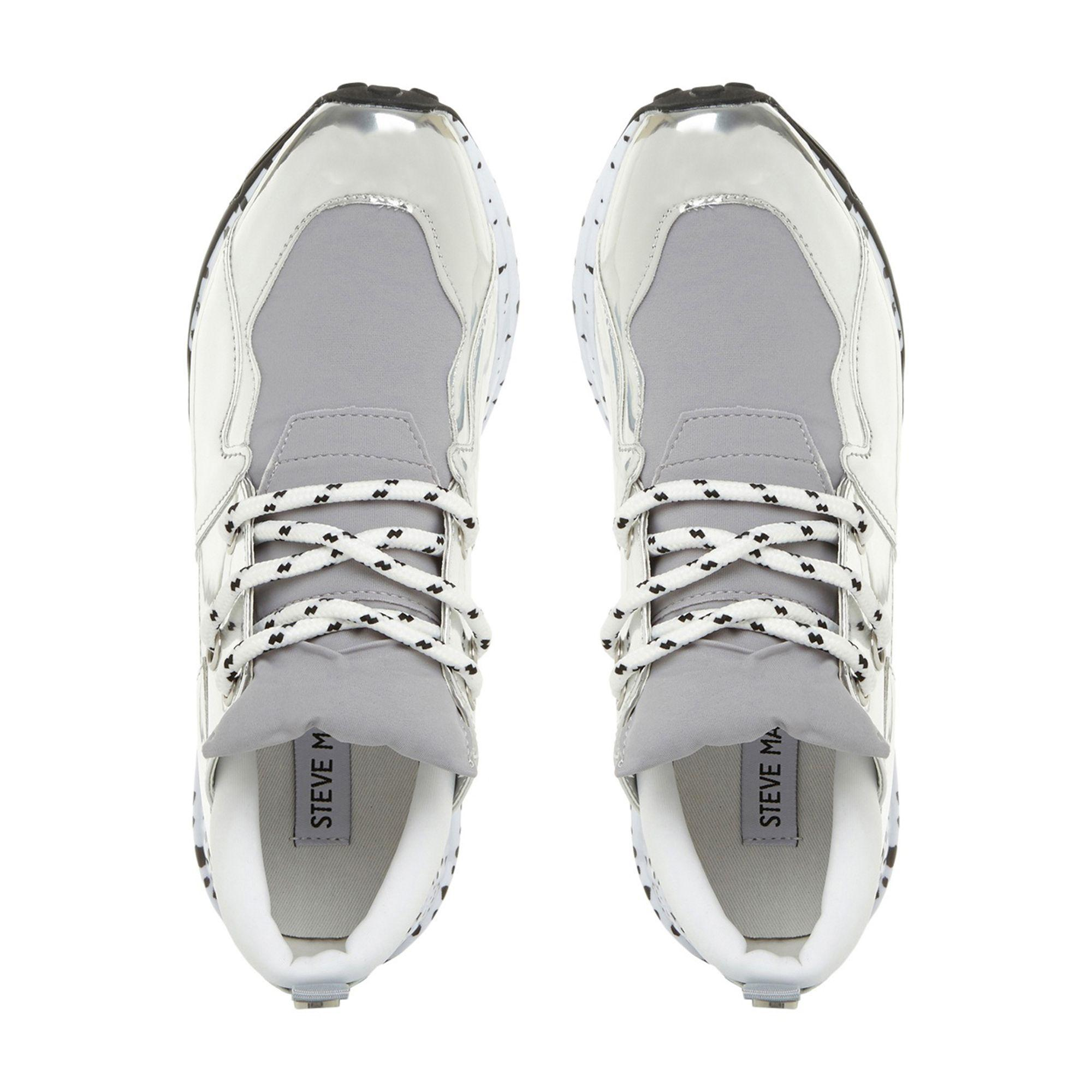 217d0dc3e9b Steve Madden - Metallic Silver  cliff  Platform Lace Up Trainers - Lyst.  View fullscreen