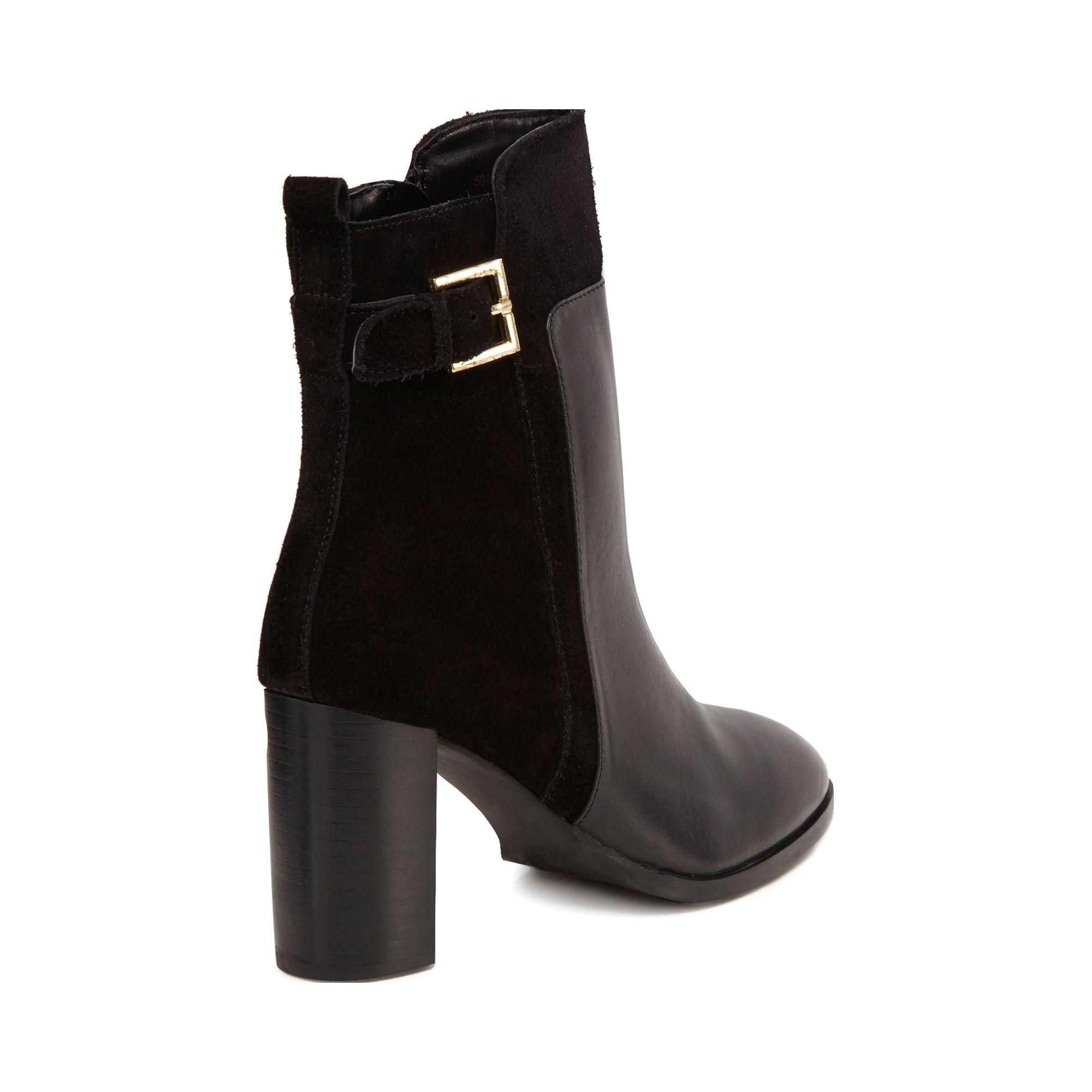 a60c400849c J By Jasper Conran Black Leather 'jalen' High Block Heel Ankle Boots ...