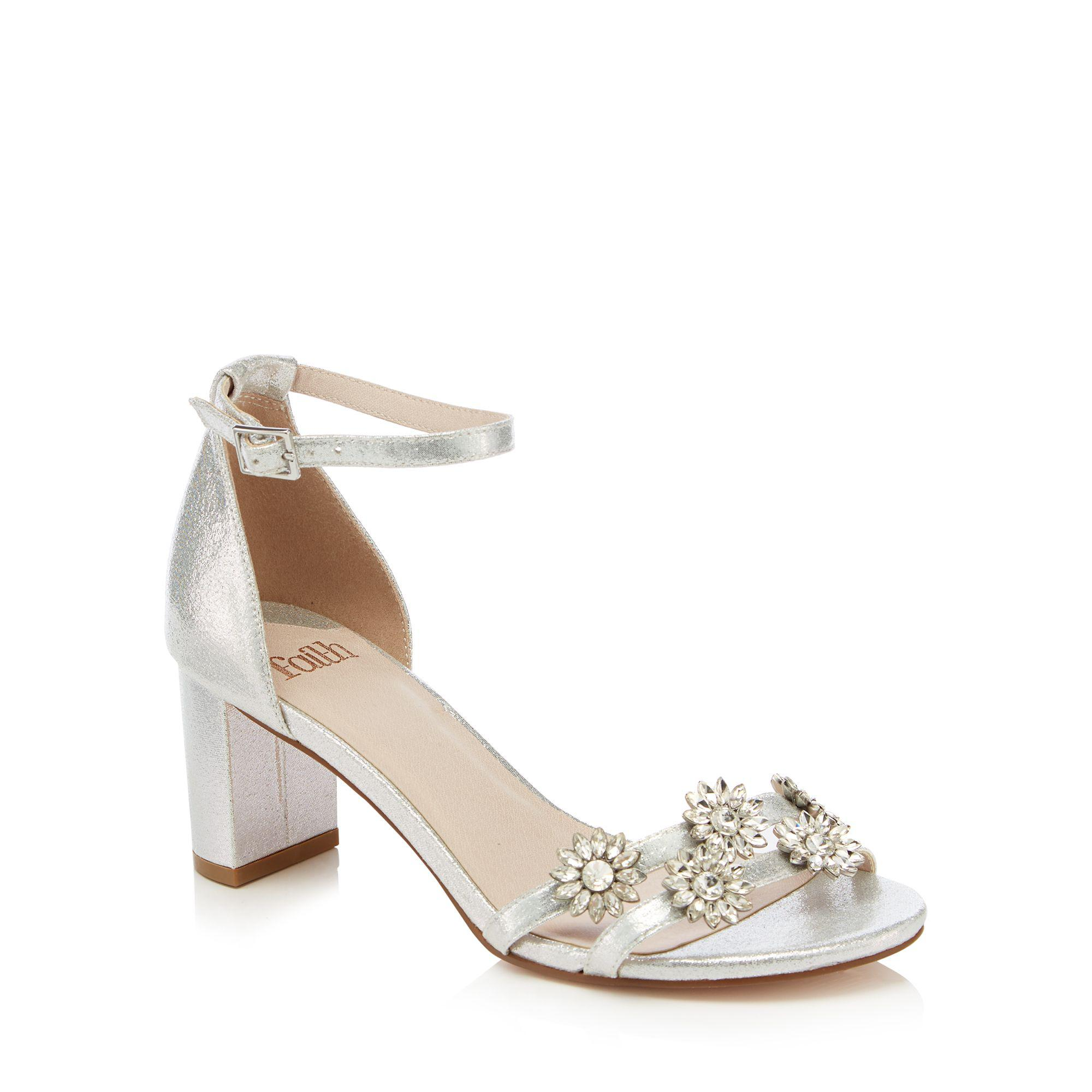e6adbeb1b1 Faith Silver Diamante 'dommy' Mid Block Heel Sandals in Metallic - Lyst
