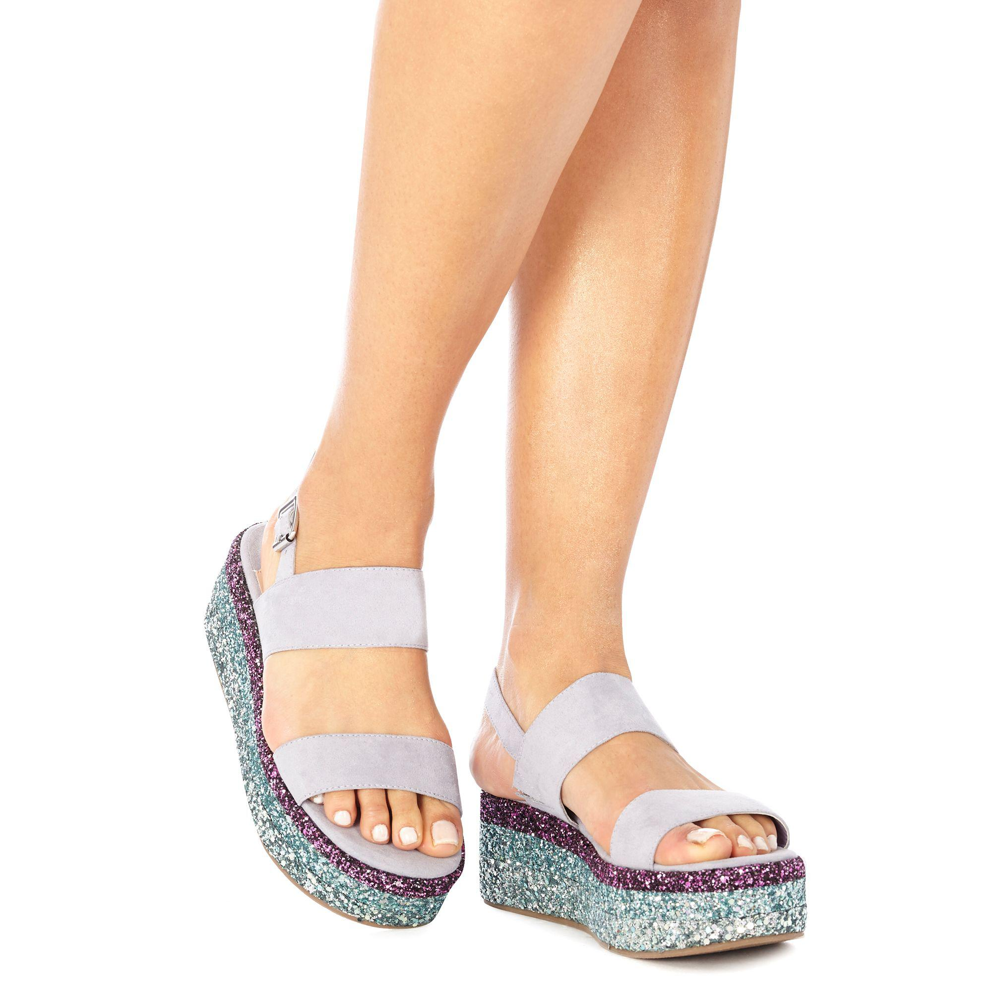 f581a1440ba Faith Lilac Suedette Glitter  jitter  Mid Flatform Heel Ankle Strap ...
