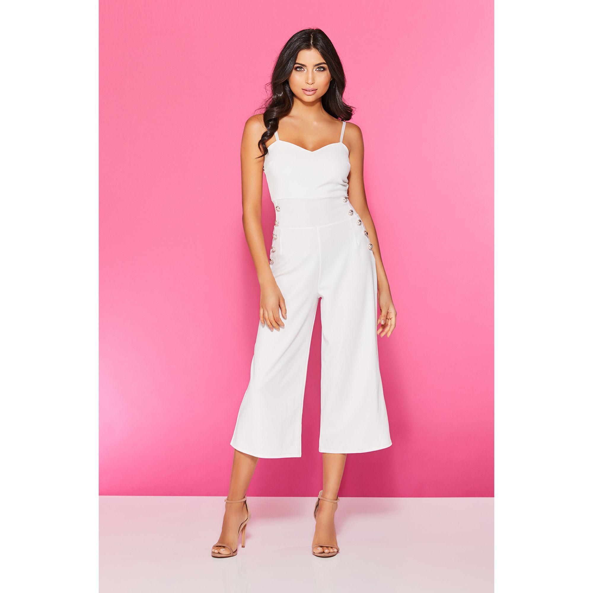 787d3fd83442 Quiz. Women s Cream Button Culotte Jumpsuit