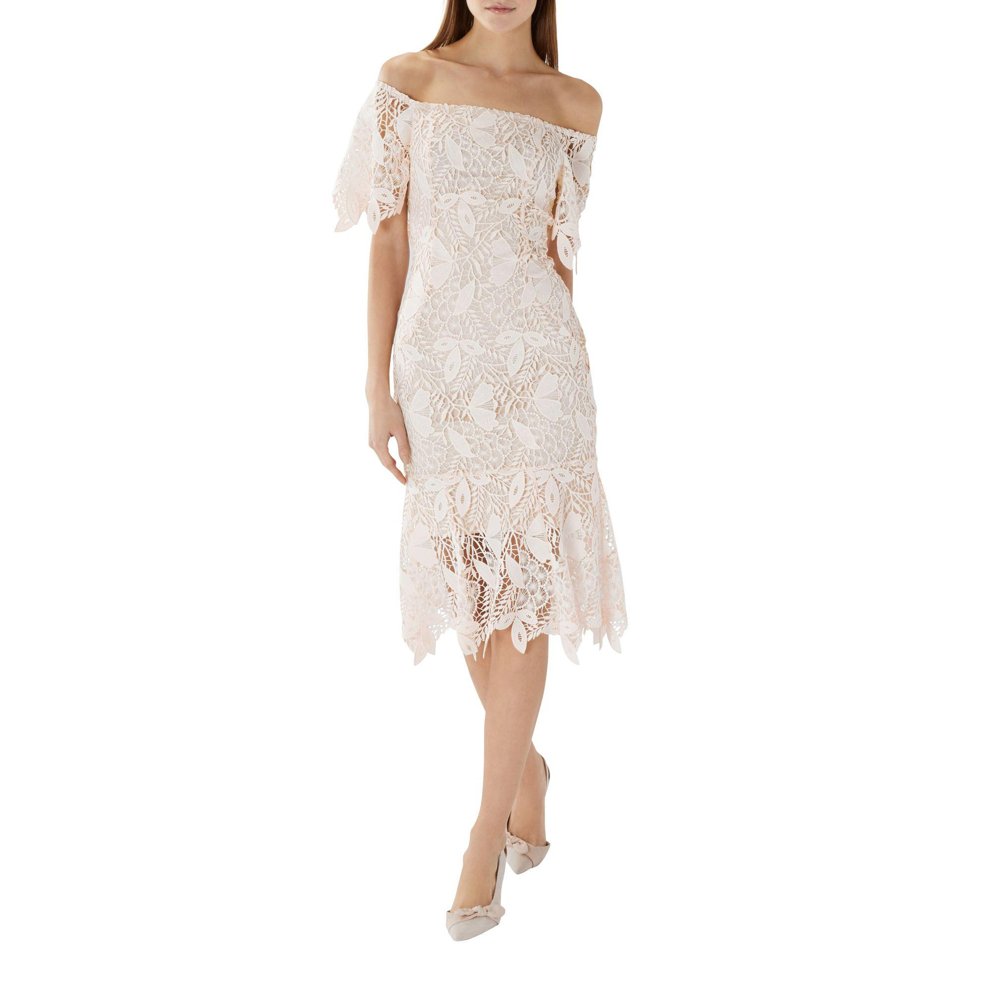 8e1731b4930 Coast - Pink Natural Lace  tanya  Bardot Shift Dress - Lyst. View fullscreen