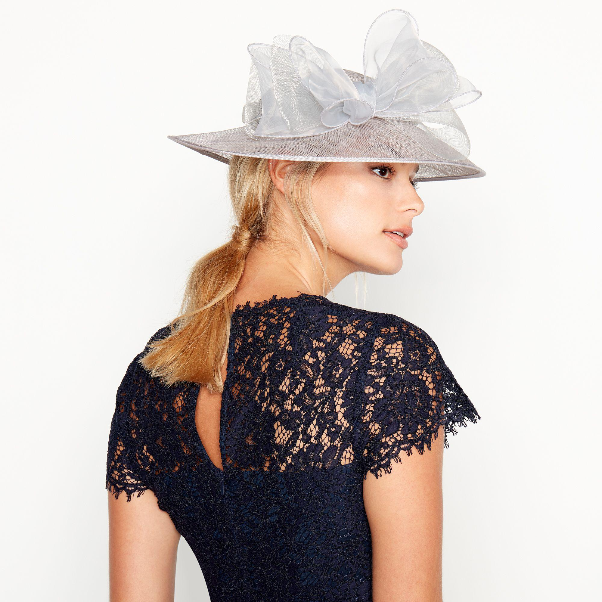 Début Silver Crin Trim Bow Saucer Hat in Metallic - Lyst 5afb27223153