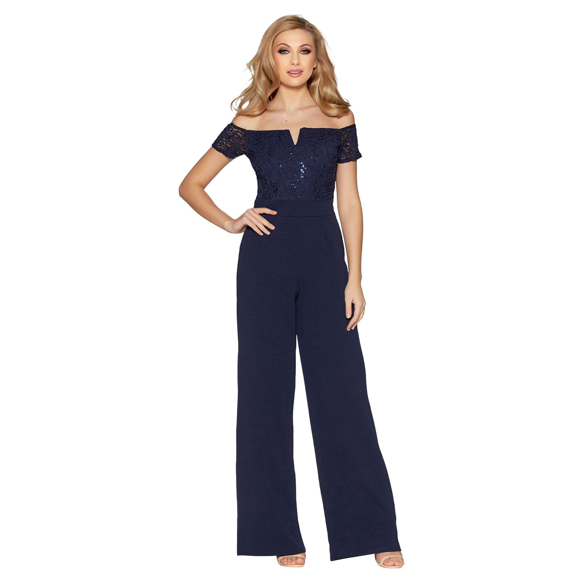 1921aa73bc1 Quiz Navy Sequin Lace Bardot Jumpsuit in Blue - Lyst