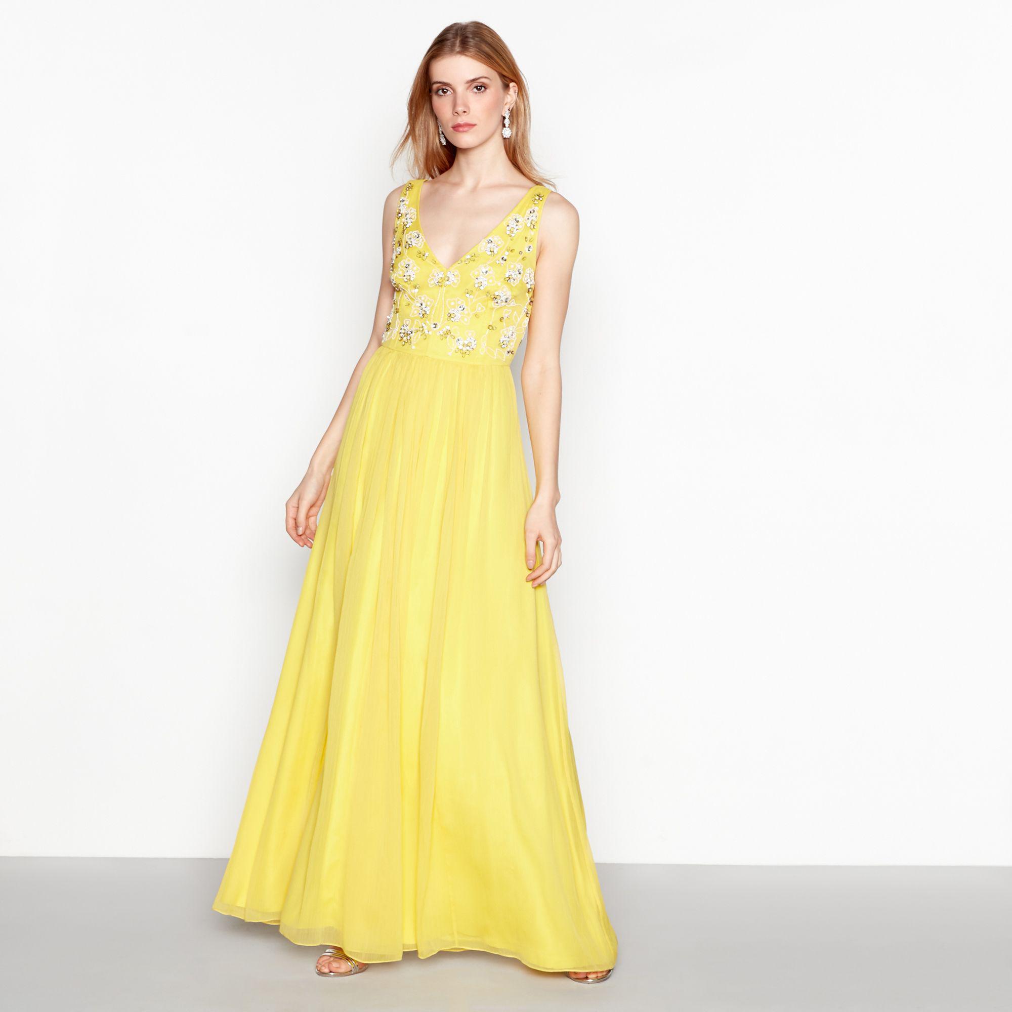 Jenny Packham Women S Yellow Beaded Yasmin Maxi Dress