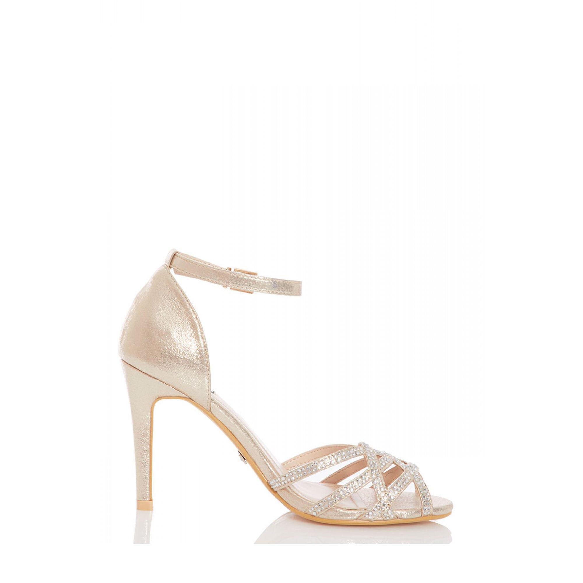 6d5fc3301de Quiz Gold Shimmer Diamante Detail Heel Sandals in Metallic - Lyst