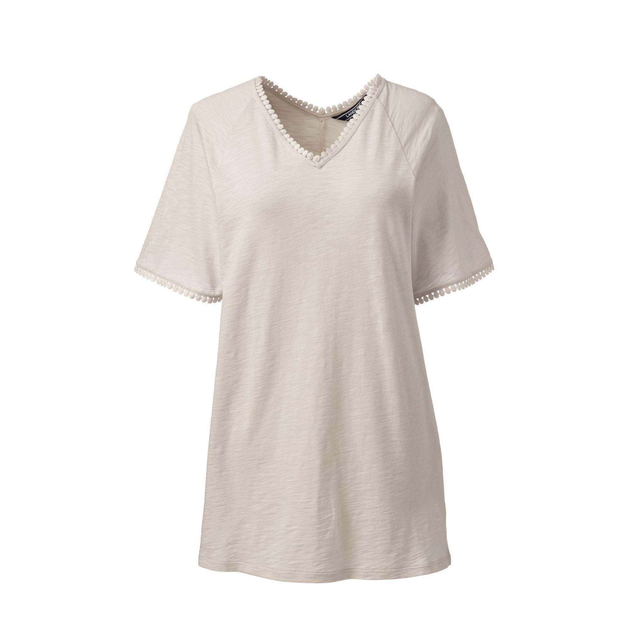 e4b3df01d70 Lands' End. Women's Natural Cream Petite Short Sleeve Tunic Top In Cotton &  Modal