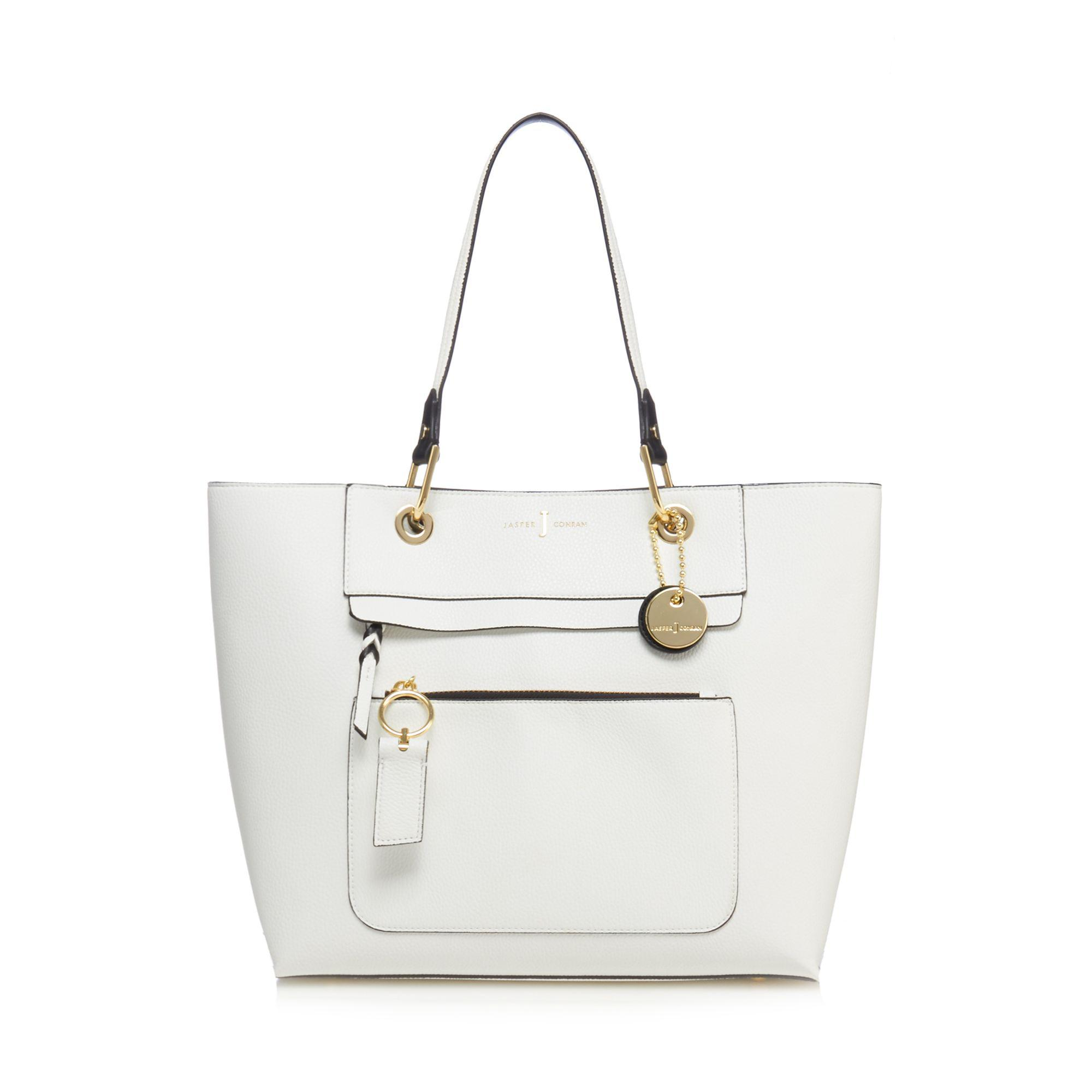 J By Jasper Conran White Front Zip Detail Large Tote Bag in White - Lyst 7c9dd6e744d13
