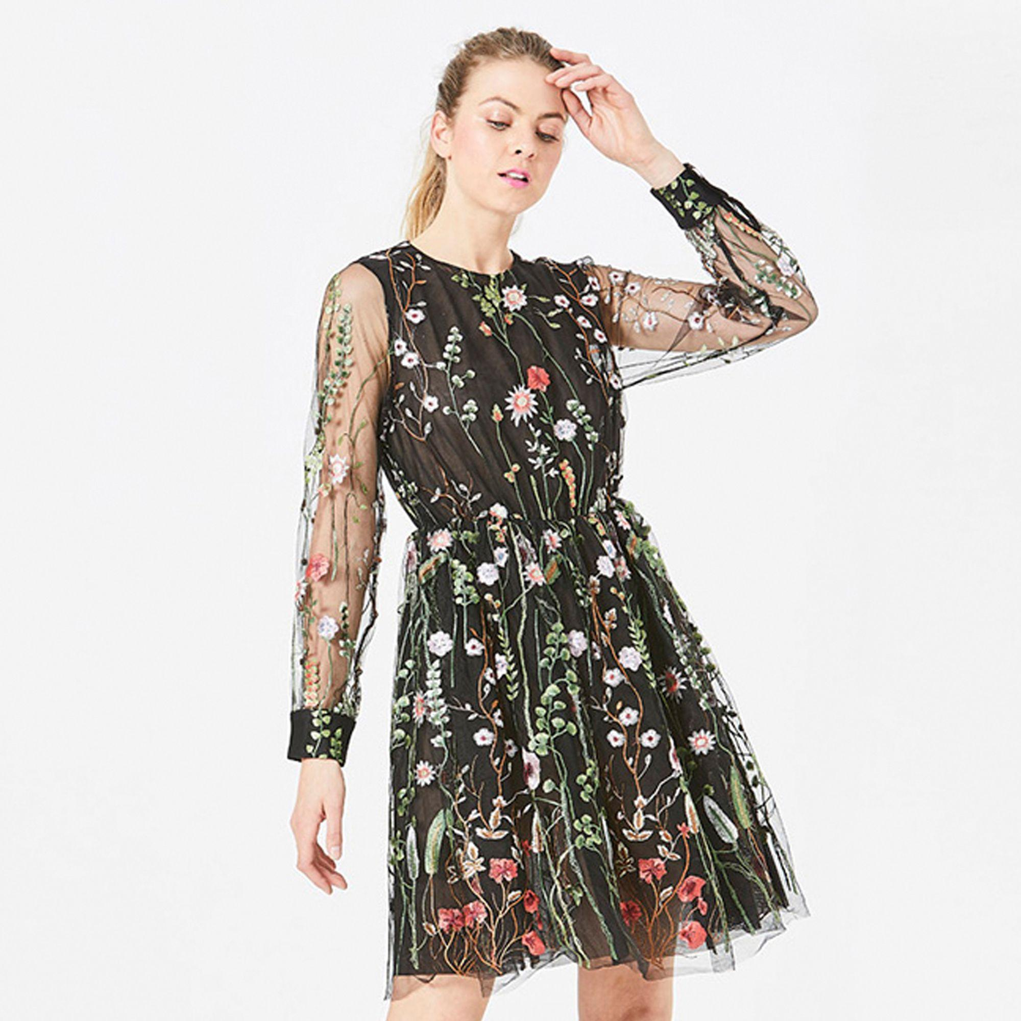 6fcd5a84cd9f Angeleye Black Sheer Lace Embroidered Floral Long Sleeved Dress in ...