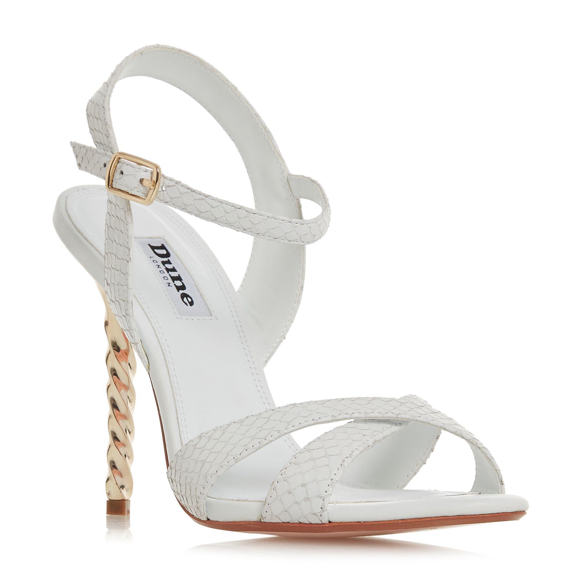 8782d4b72e Dune. Women's White Leather 'magician' High Stiletto Heel Ankle Strap  Sandals
